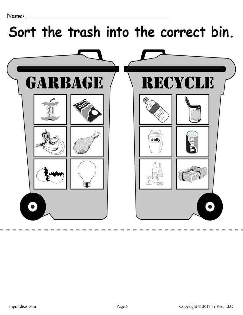 Sorting Trash Earth Day Recycling Worksheets 4 Printable