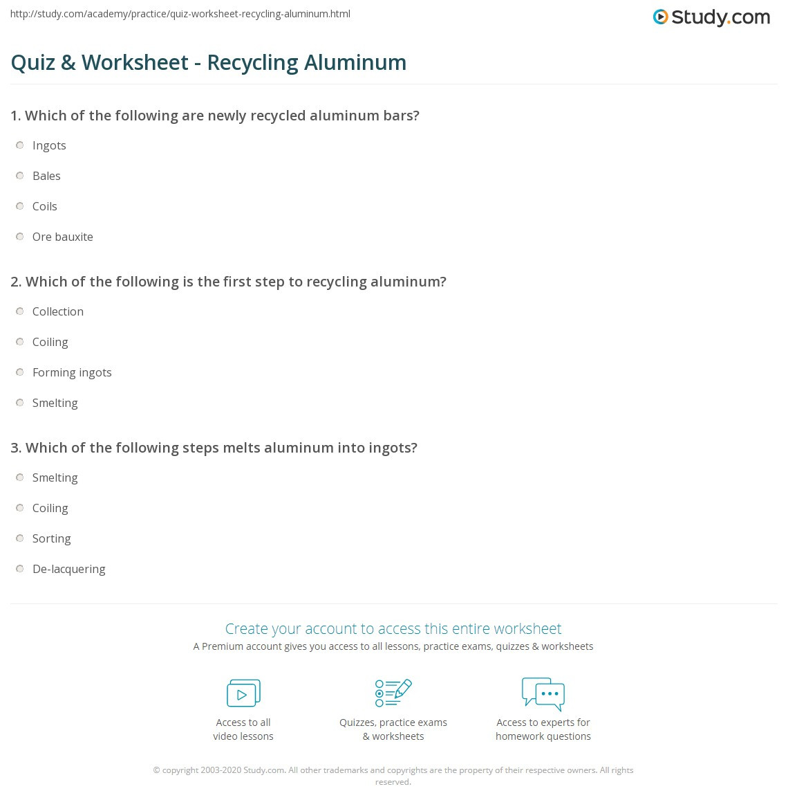 Recycling Worksheets for Middle School Quiz & Worksheet Recycling Aluminum