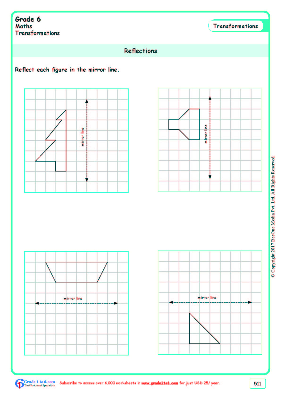 Reflection Math Worksheets Grade 6 Class Six Reflection Worksheets