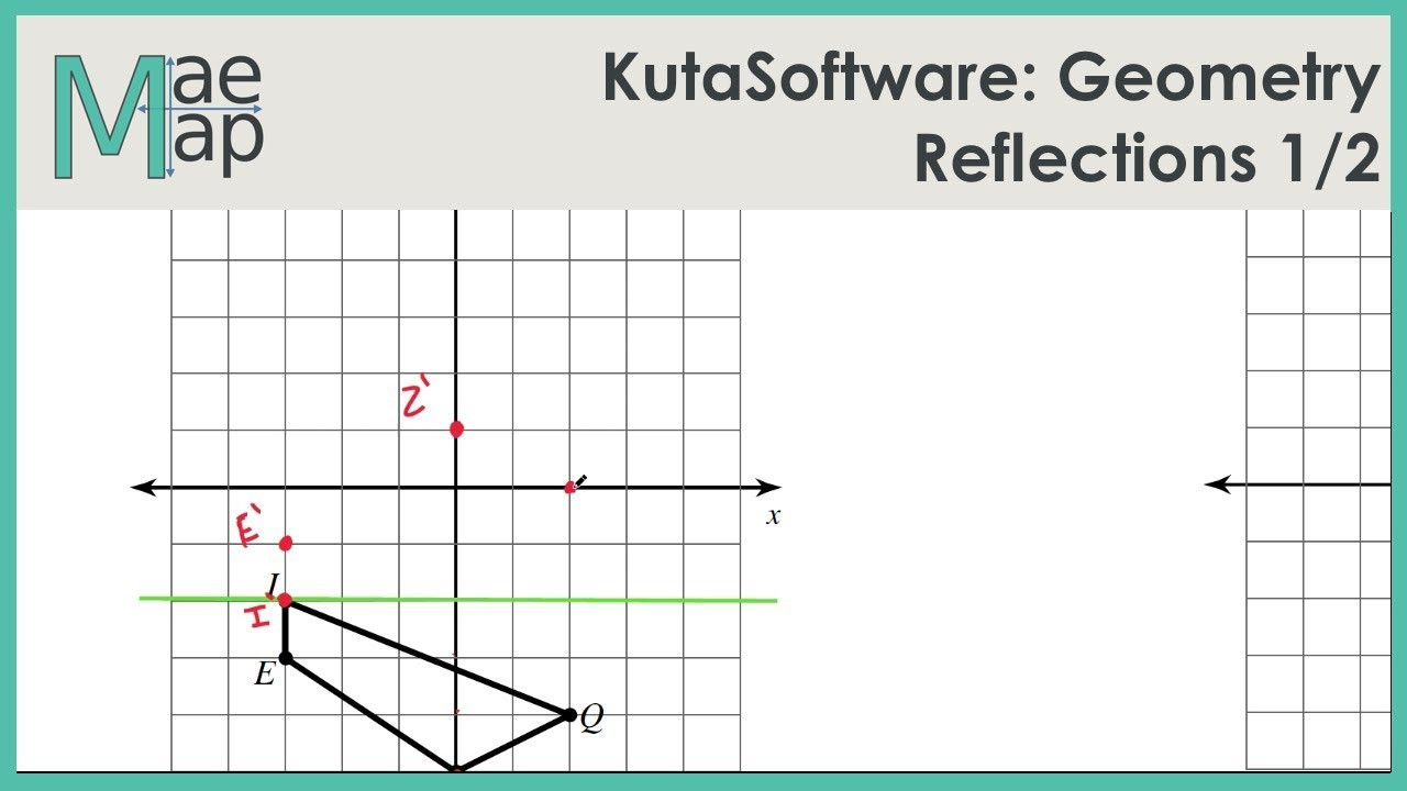 Reflection Math Worksheets Kutasoftware Geometry Reflections Part 1