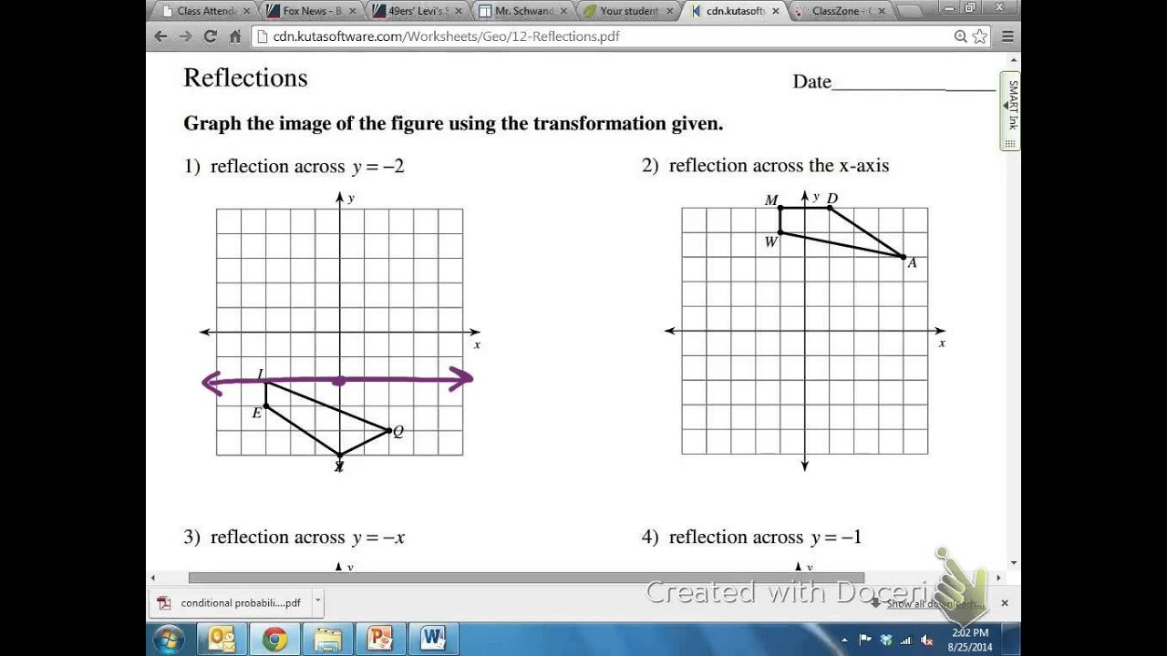 Reflection Math Worksheets Mon Core Math Geometric Reflection Over Y= 2