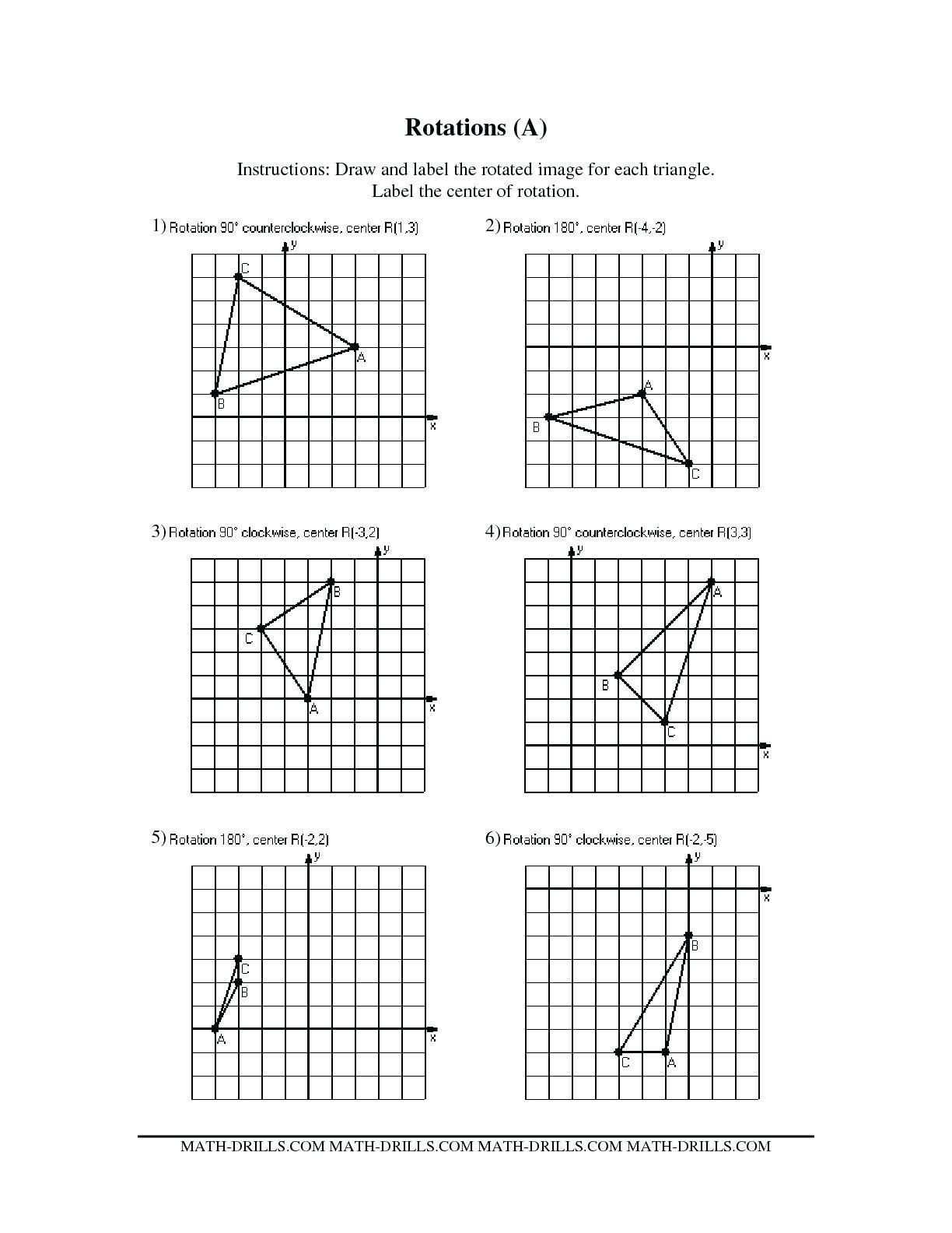 Reflection Math Worksheets Reflections and Rotations Worksheets