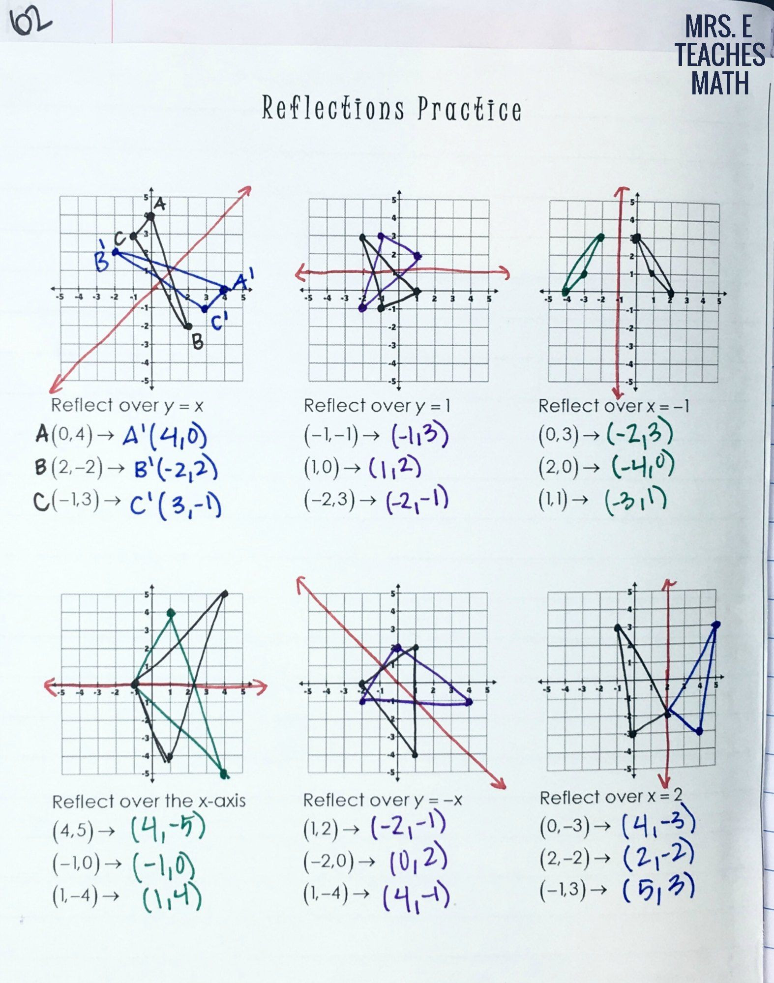 Reflection Math Worksheets Reflections Practice Page for Geometry Interactive Notebooks