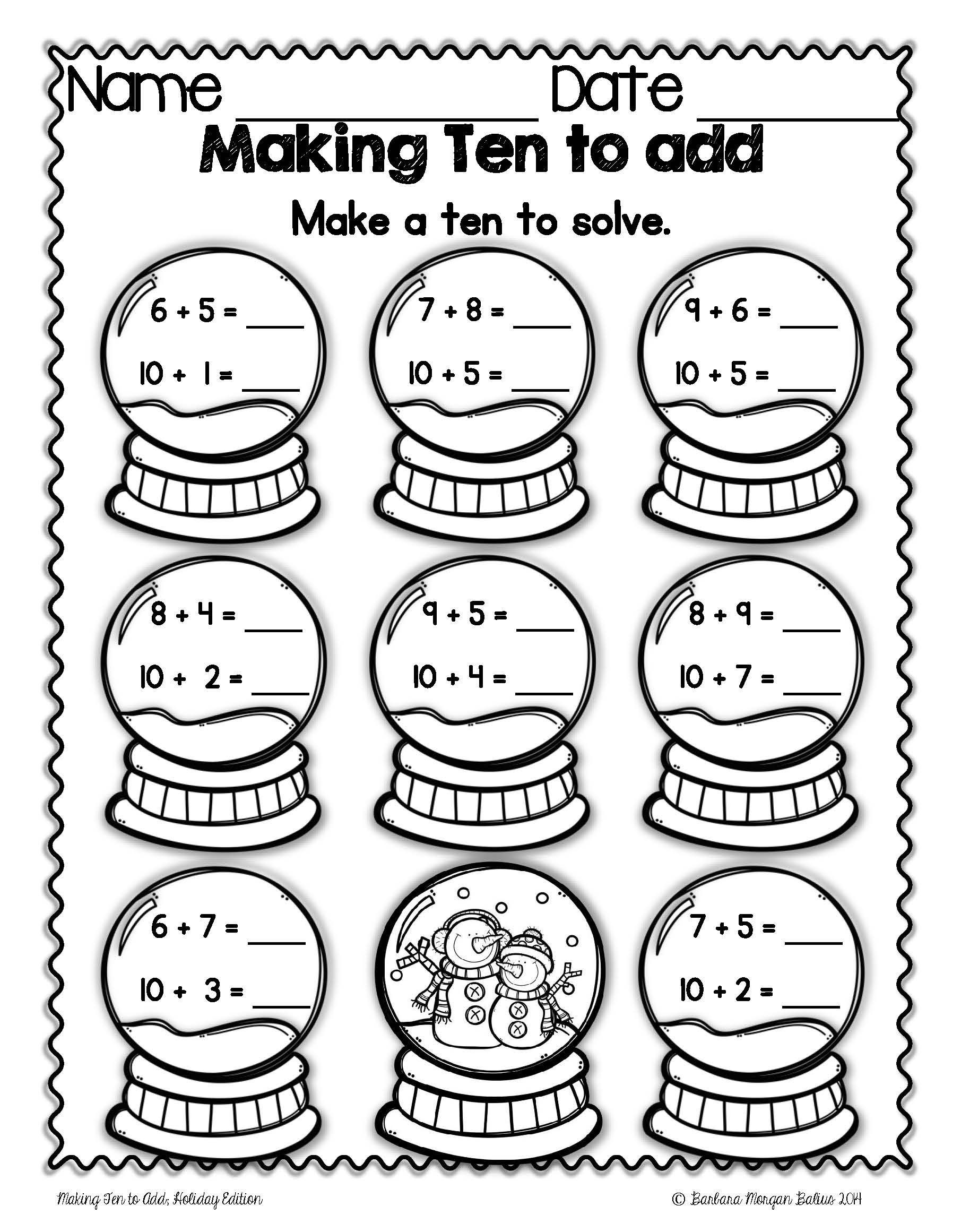 Repeated Addition Worksheets 2nd Grade Christmas Math Making Ten to Add Mega Holiday Practice 1 Oa