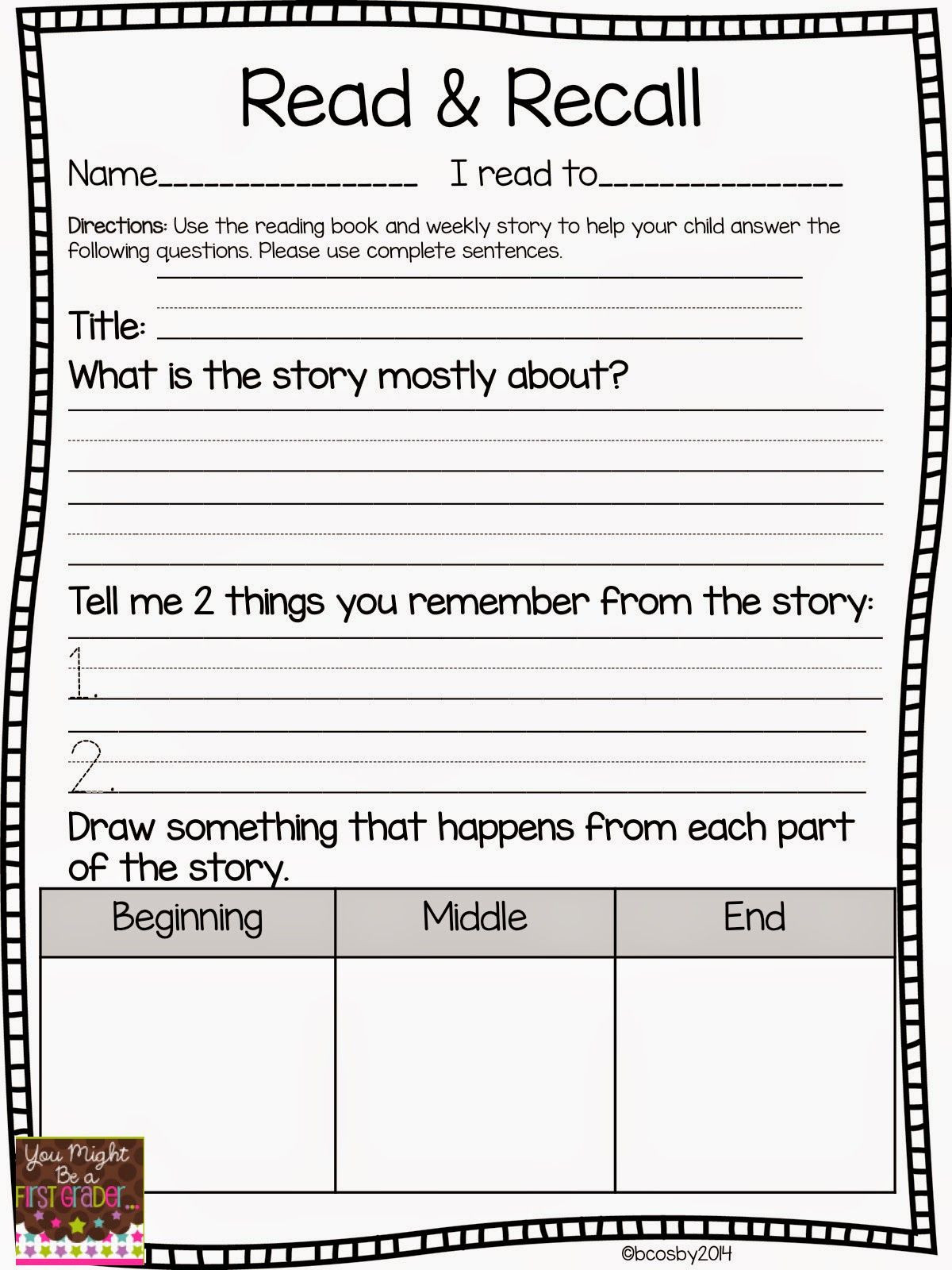 Retell Worksheet First Grade Reading Prehension