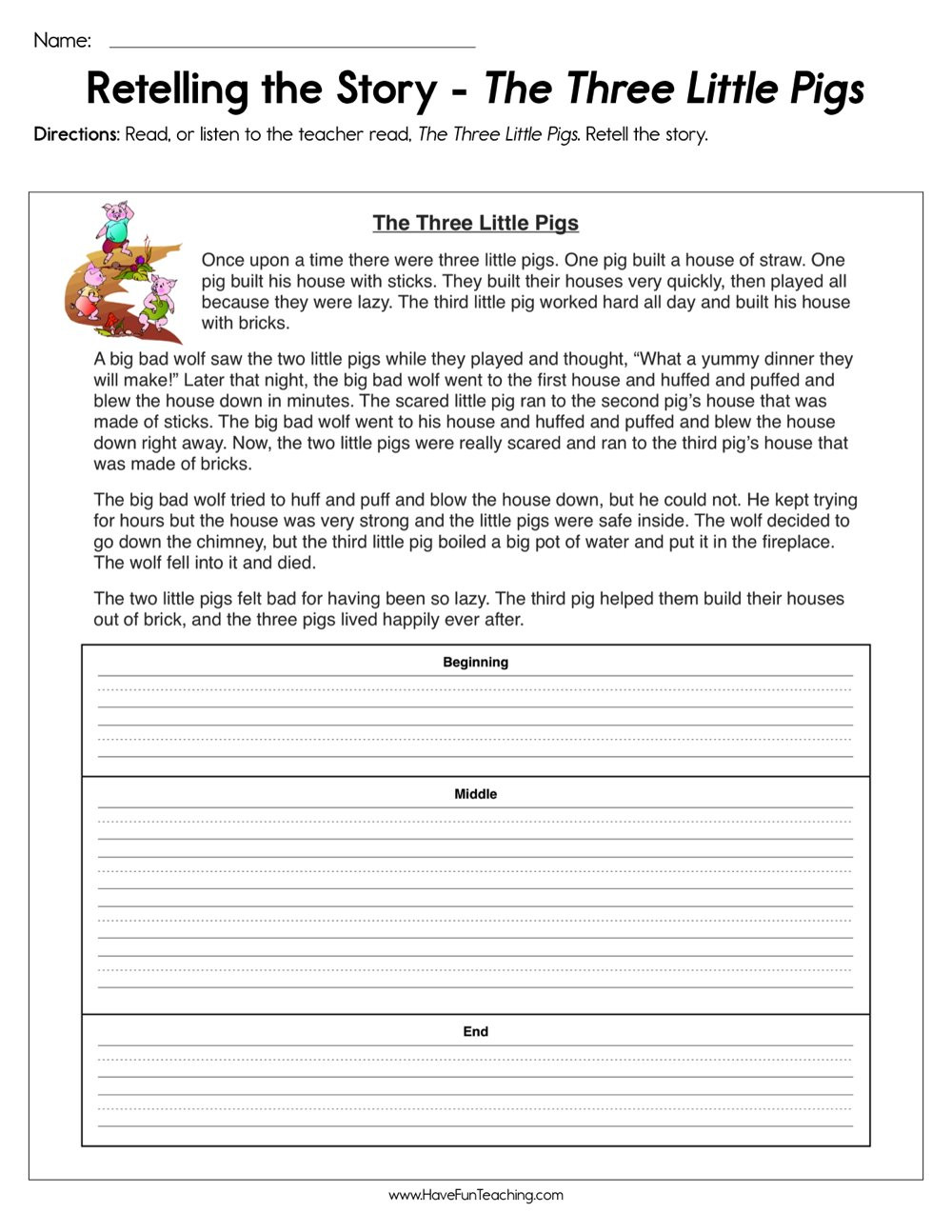 Retell Worksheet First Grade Retelling the Story the Three Little Pigs Worksheet