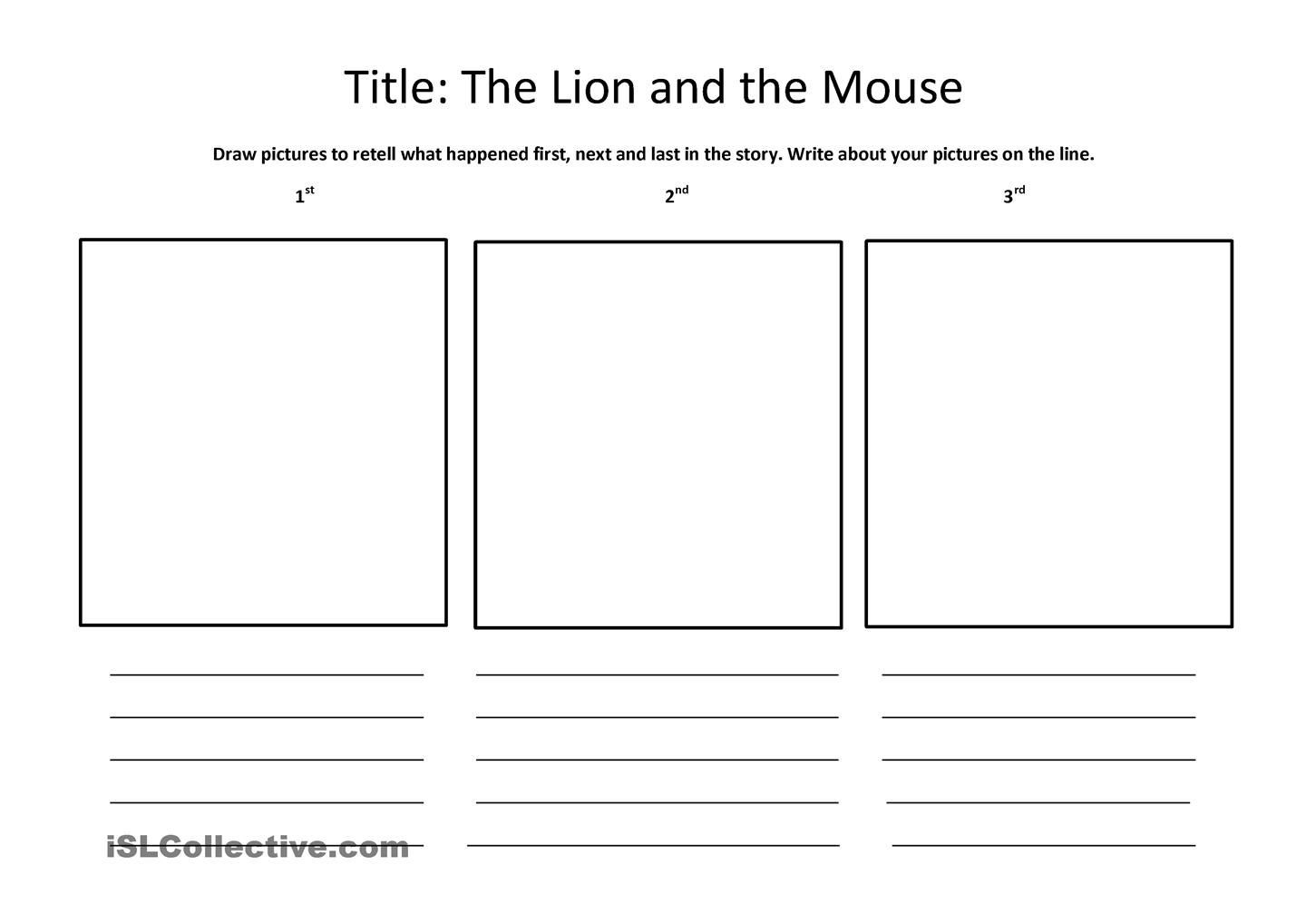 Retell Worksheet First Grade the Lion and the Mouse