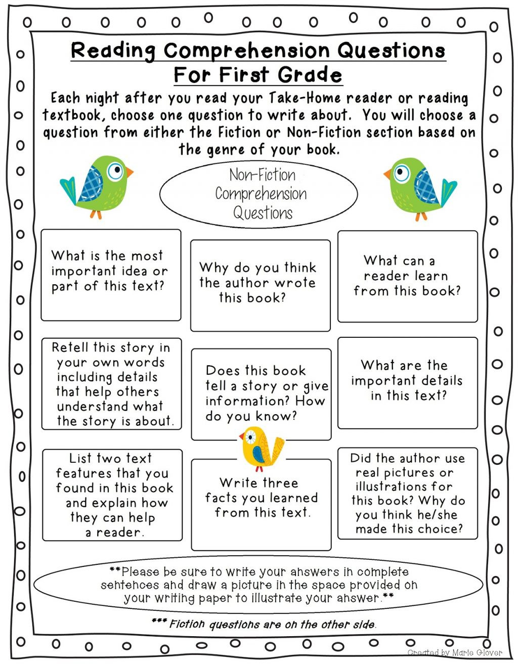 Retell Worksheet First Grade Worksheet Worksheet First Gradeeading Prehension