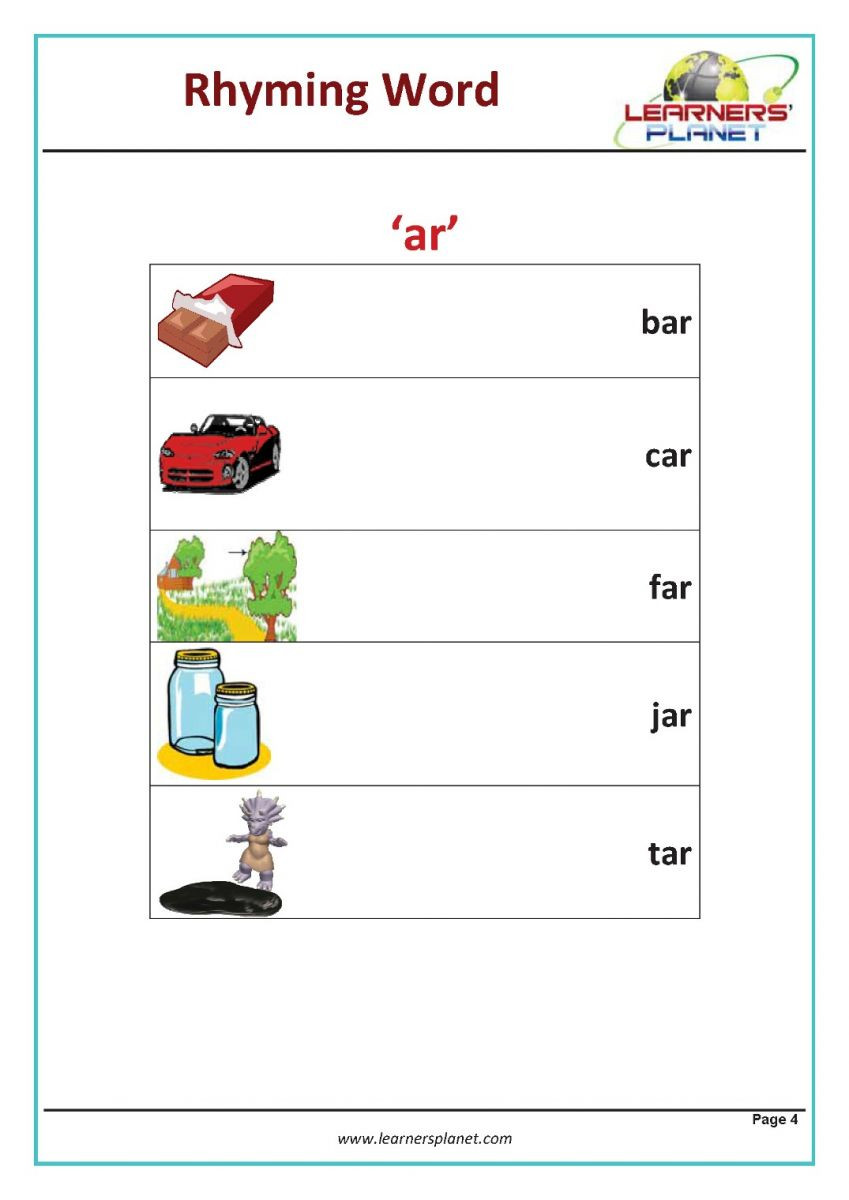 Rhyming Worksheets for Preschool Free Preschool & Kindergarten Rhyming Worksheets
