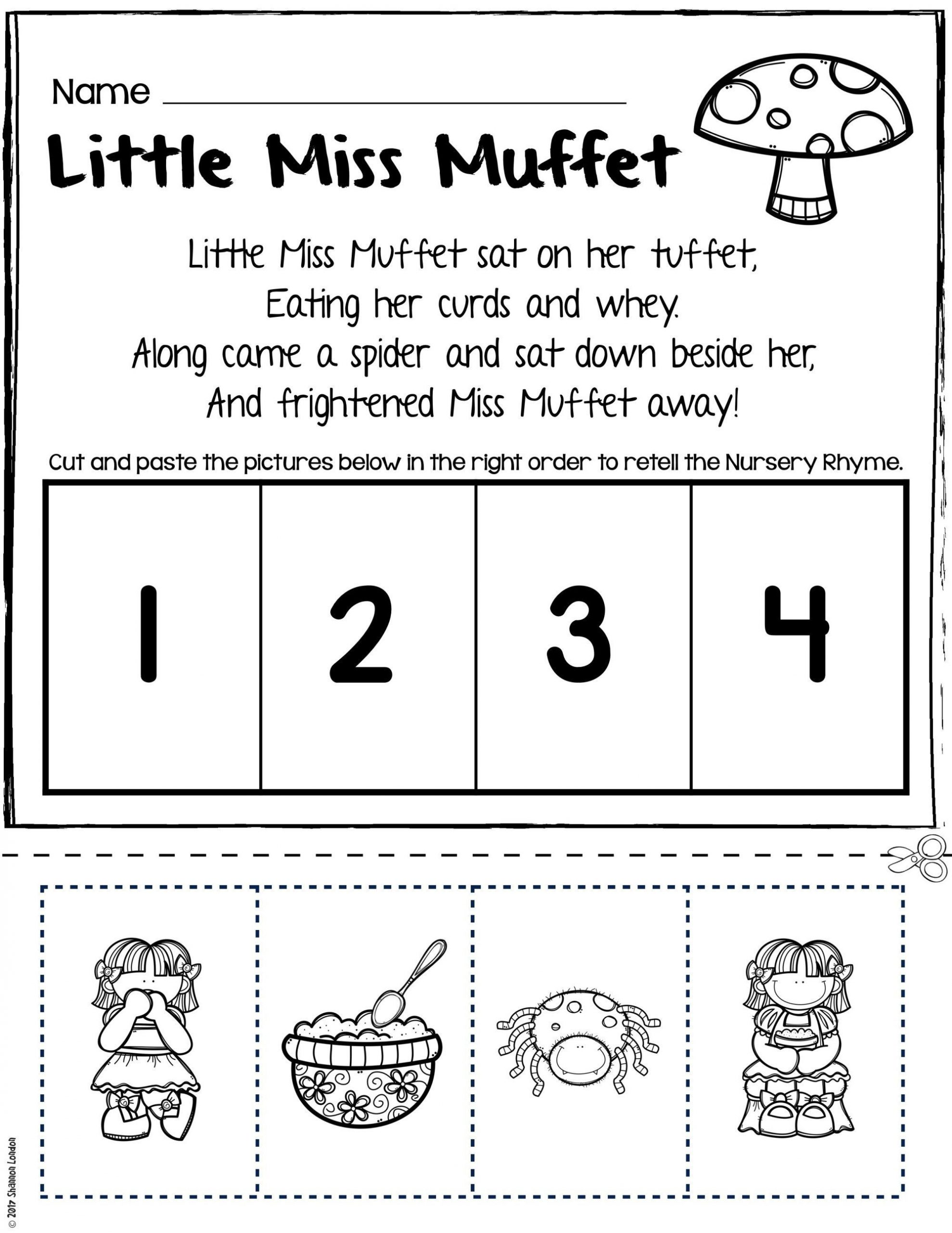 Rhyming Worksheets for Preschool Nursery Rhymes Worksheets for Story Retelling Practice
