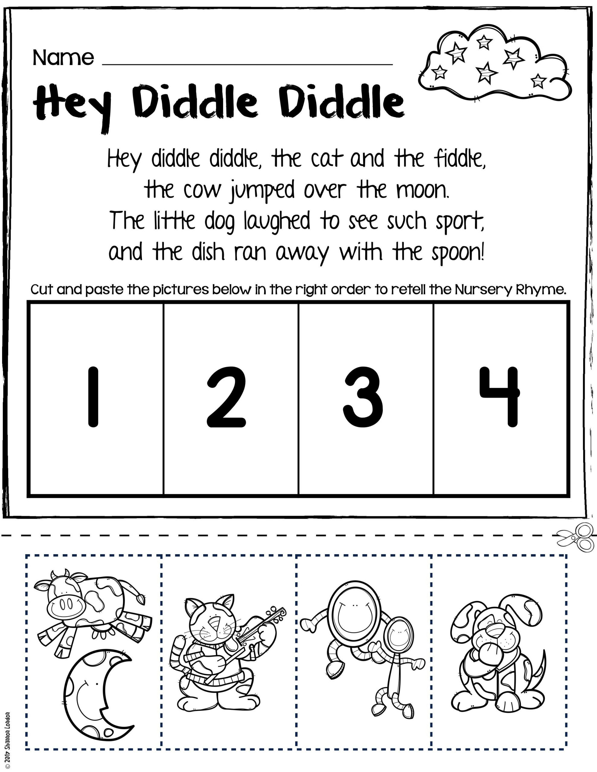Nursery Rhymes Worksheets for Story Retelling Practice