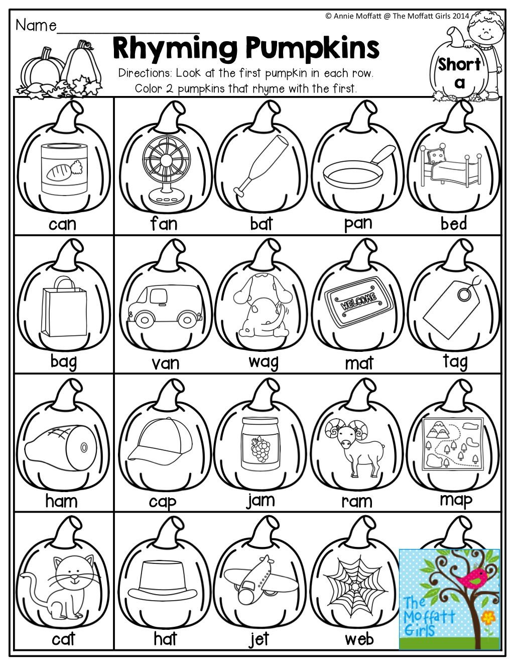 Rhyming Worksheets for Preschool Pumpkins that Rhyme