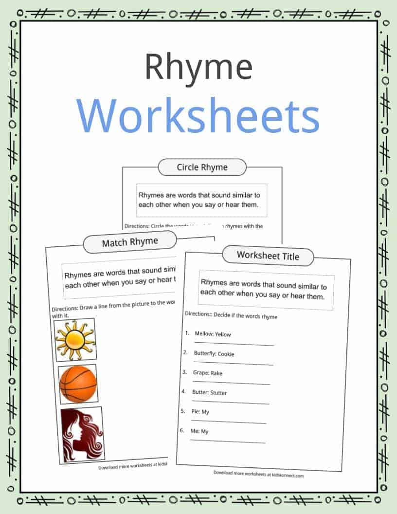 Rhyming Worksheets for Preschool Rhyme Examples Worksheets & Definition for Kids