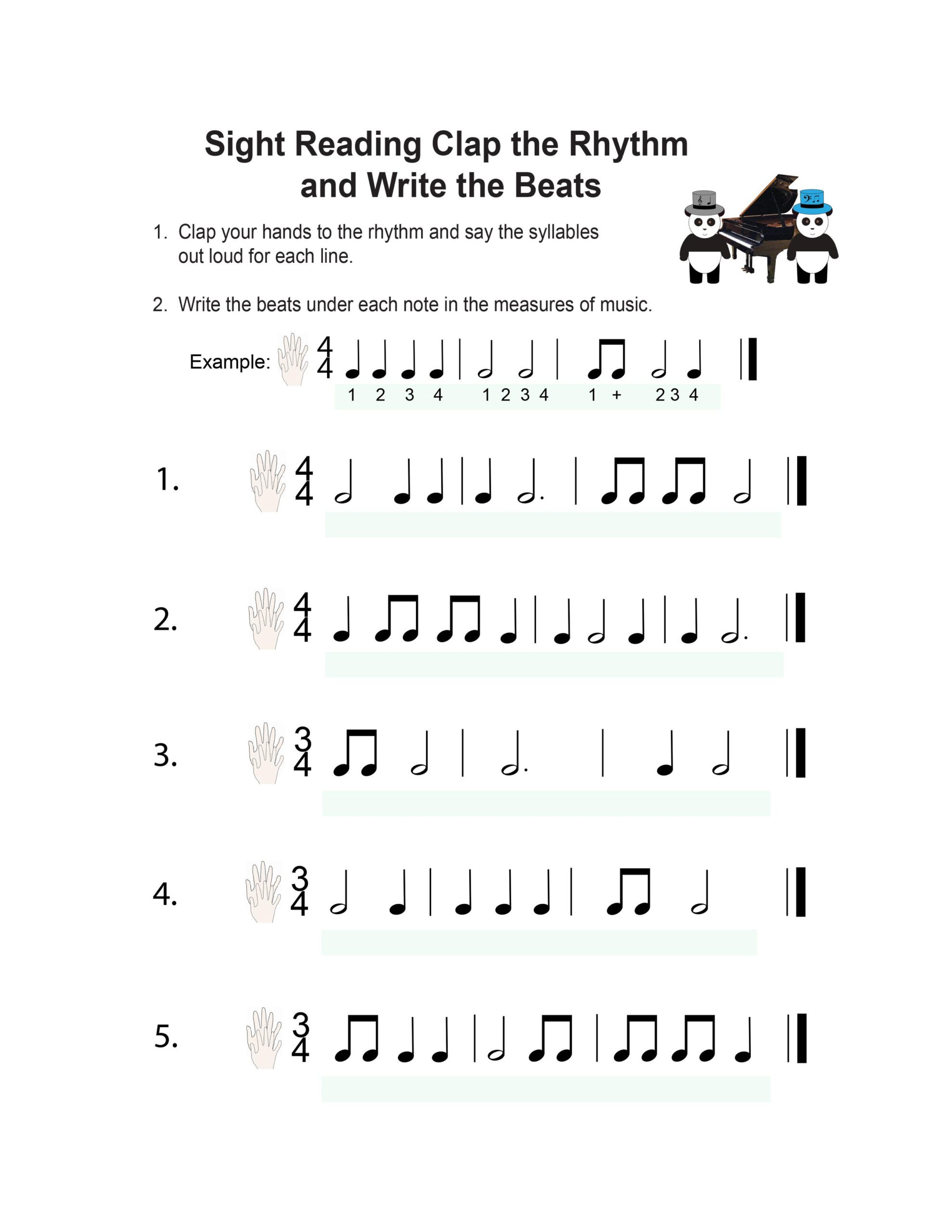 Rhythm Math Worksheet Book Piano Lesson Music Worksheets Pandastic Designs