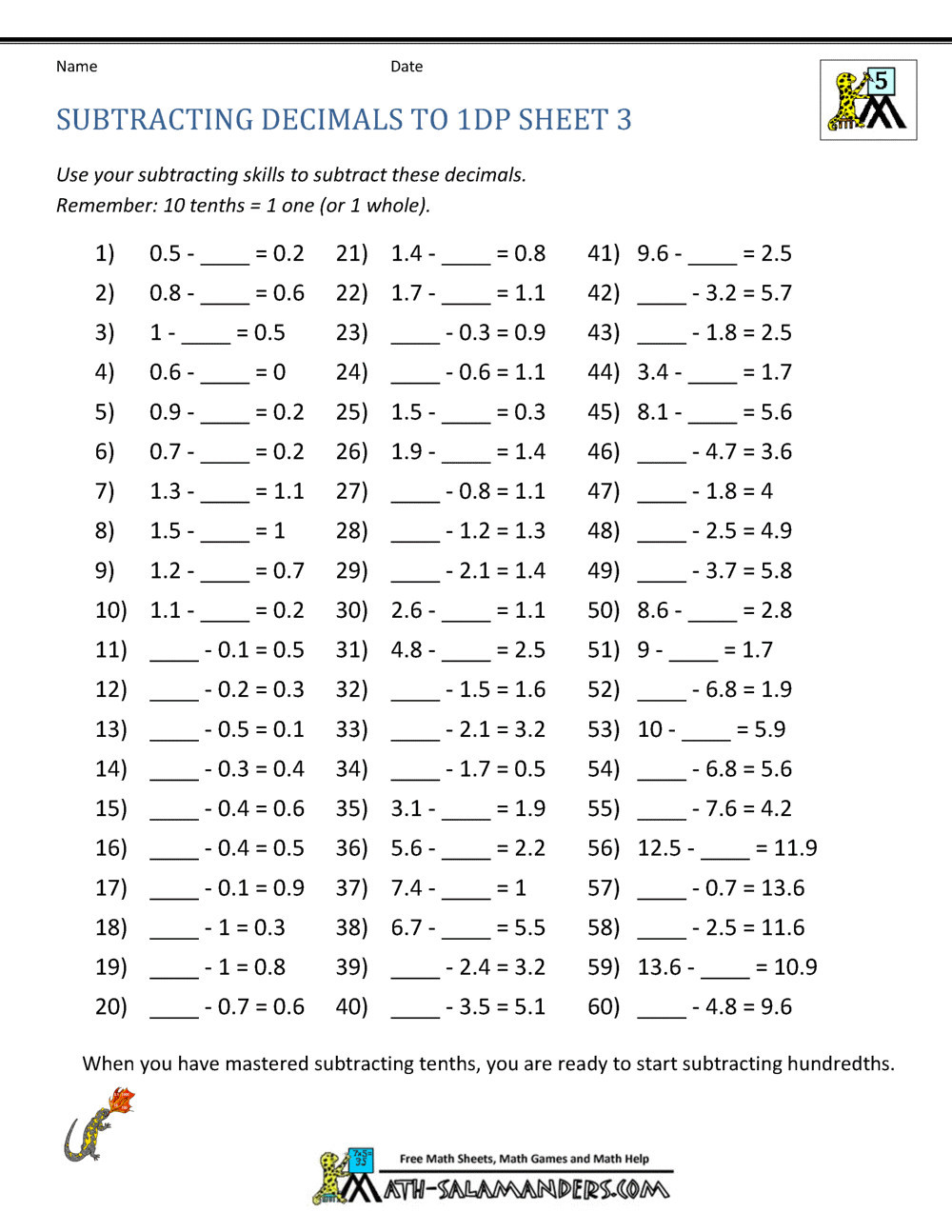Salamander Math Worksheet Worksheet Maths Worksheets for Year to Print Freeline