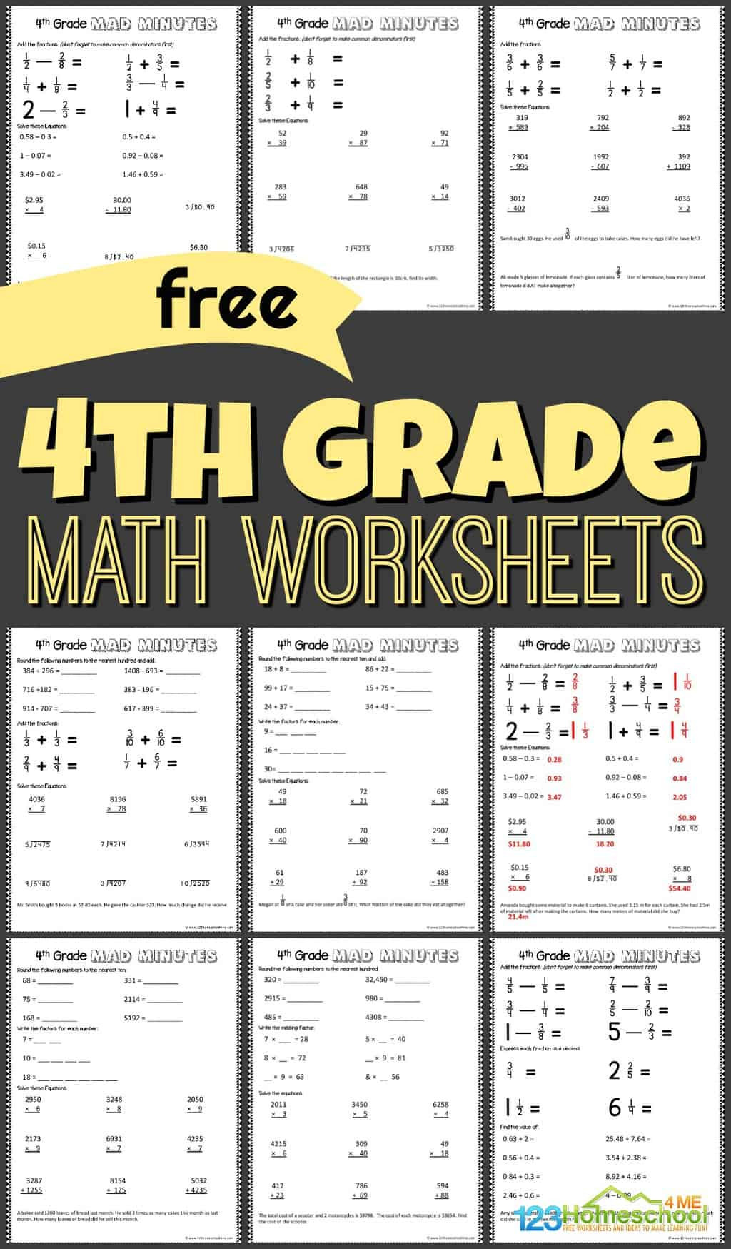 Saxon Math Worksheets 4th Grade Free 4th Grade Math Worksheets for Fourth Graders to