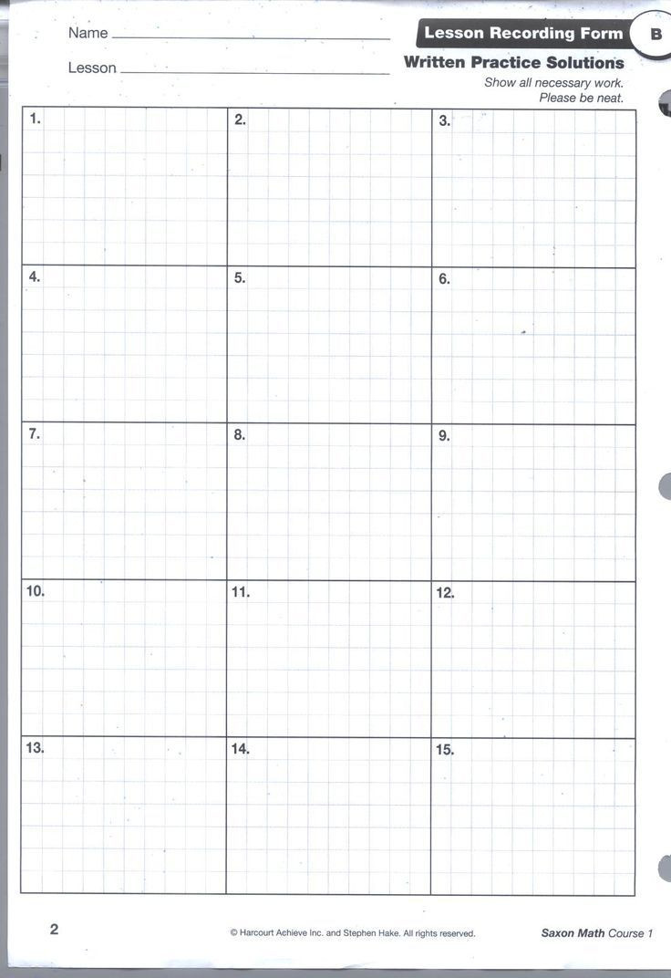 Saxon Math Homework Sheets