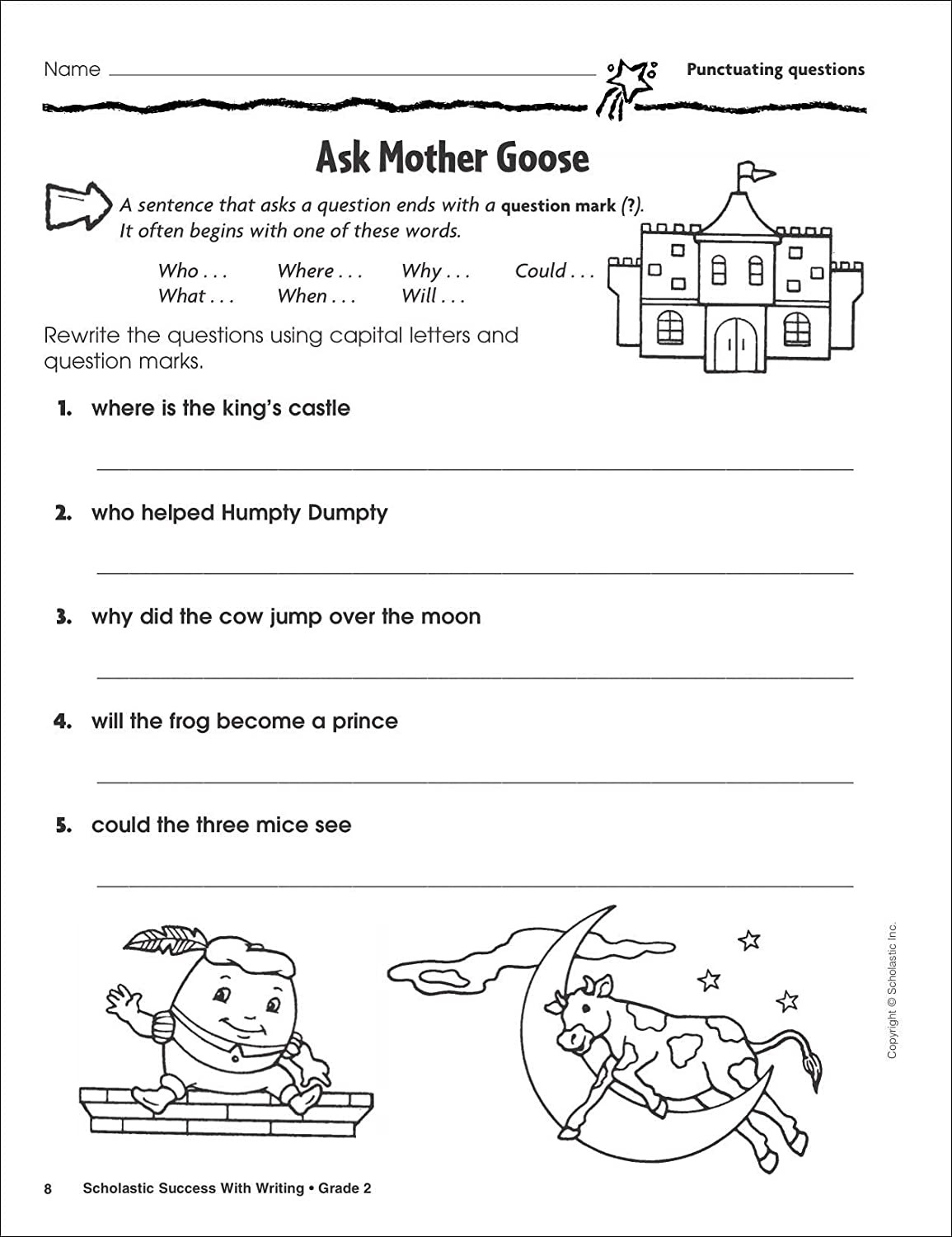 Scholastic Math Worksheets Math Worksheet Writing Worksheets for Grade 2 Letter