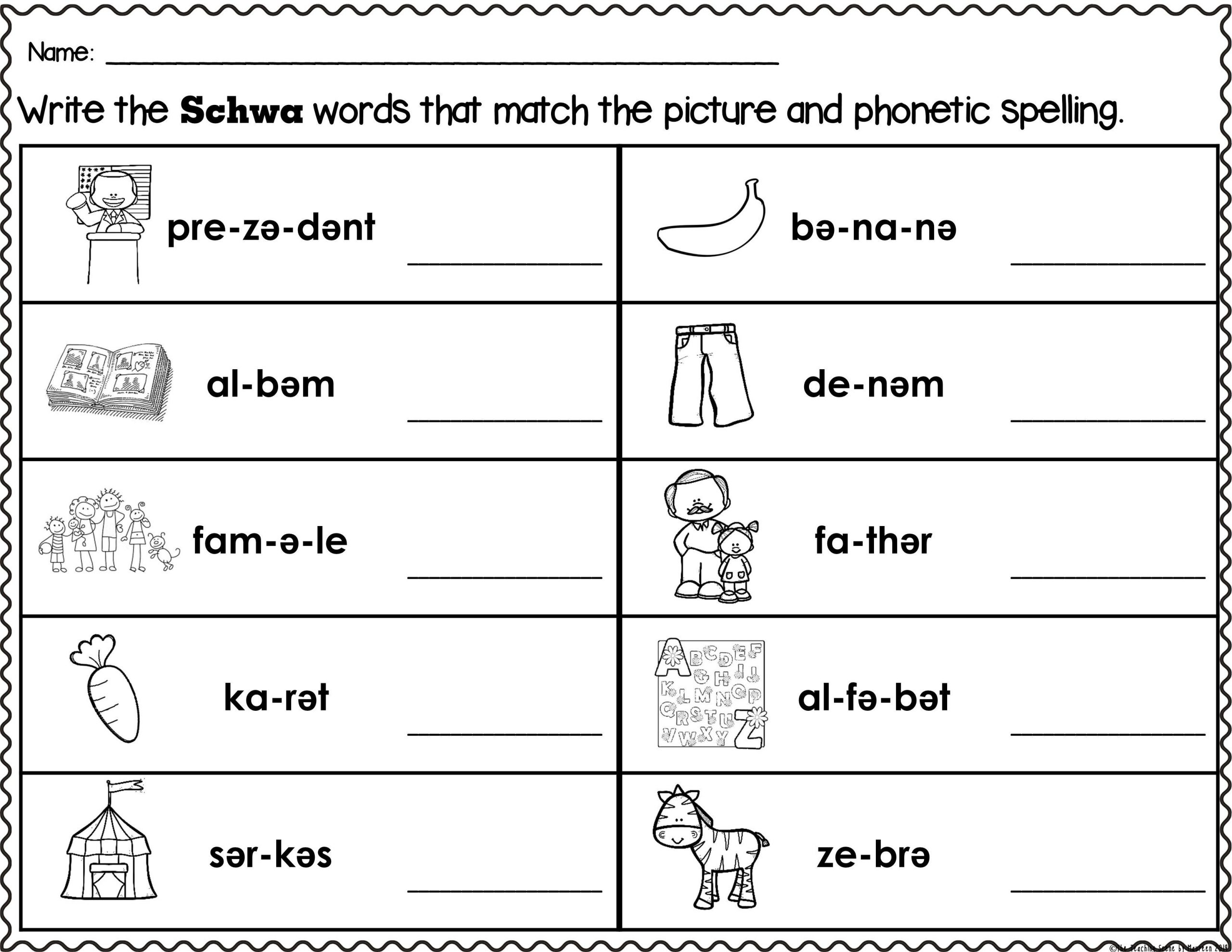 Schwa sound Worksheets Grade 2 Schwa Words Worksheets