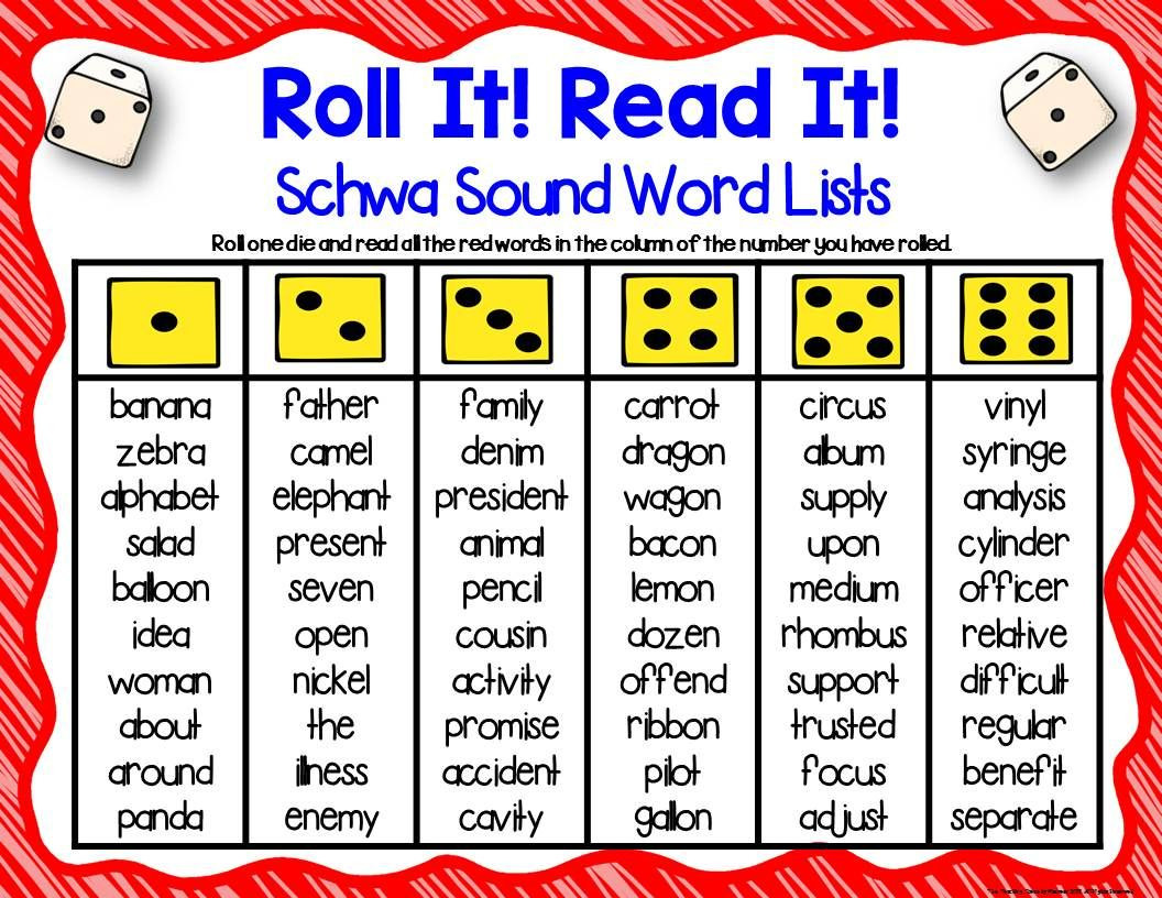 Schwa sound Worksheets Grade 2 Three Phonics Schwa sound Dice Games
