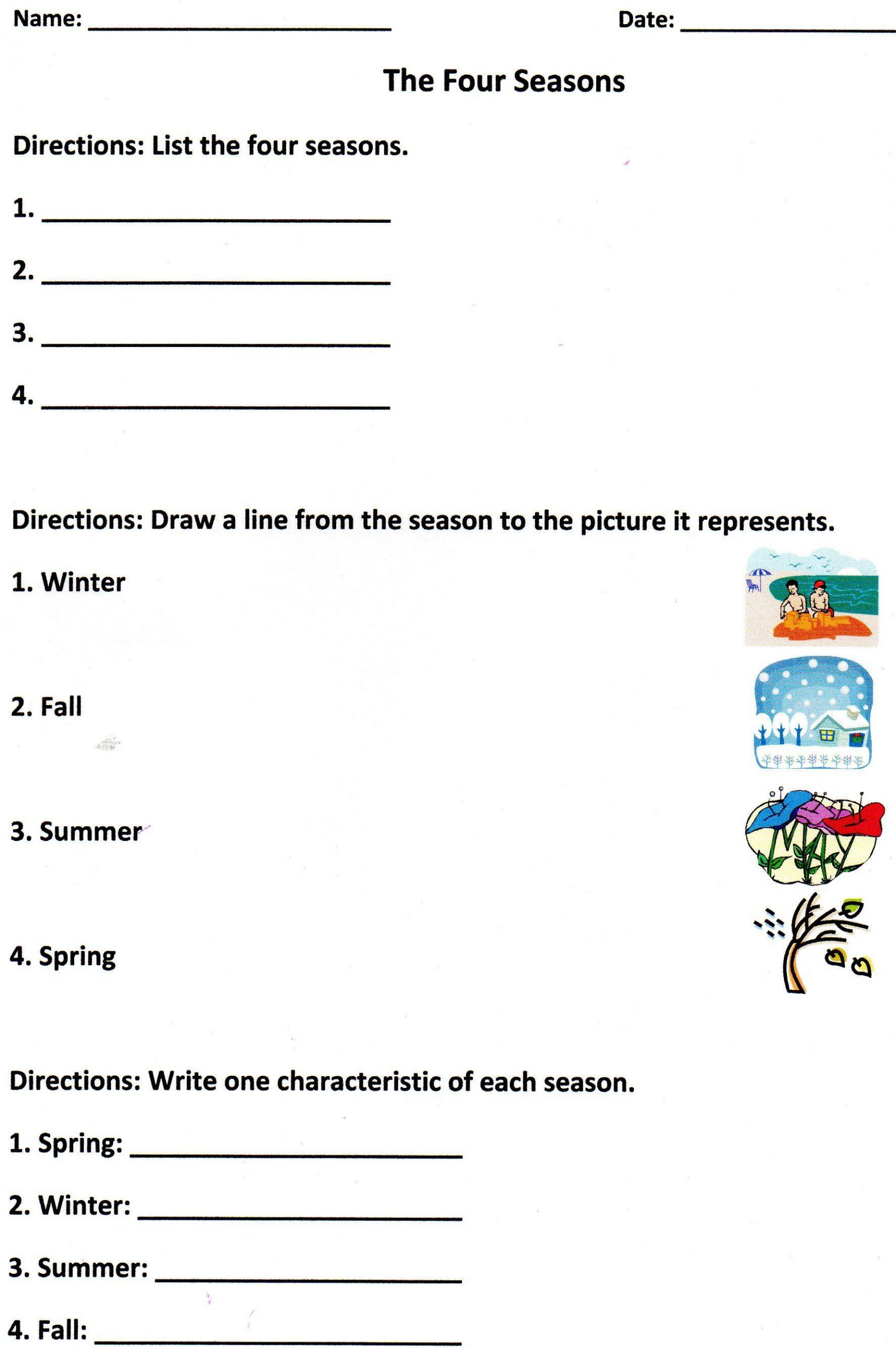 Science Worksheet 1st Grade the Four Seasons assessment for K 1