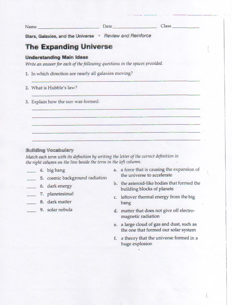 Science Worksheets for 8th Grade Expanding Universe Worksheet