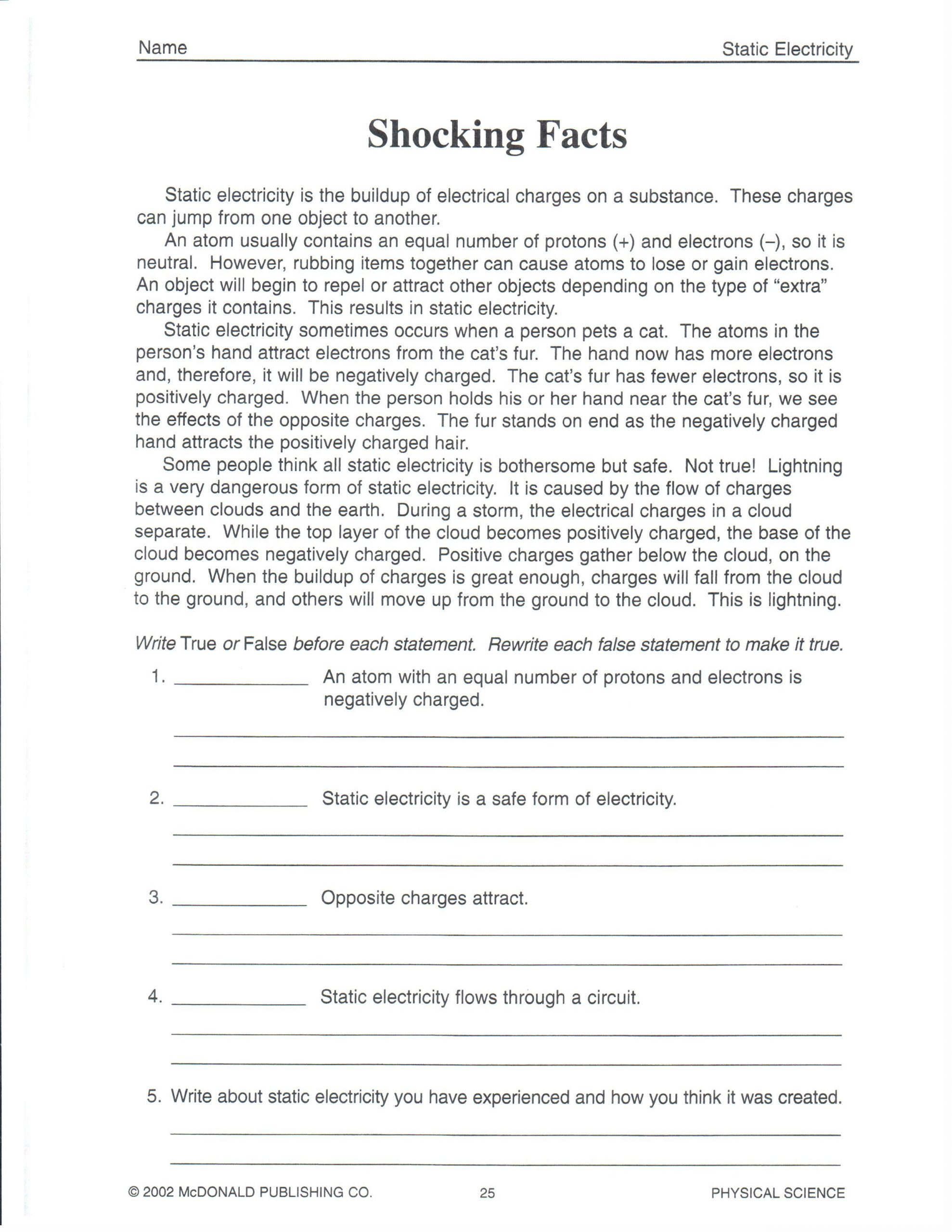 Science Worksheets for 8th Grade Physical Science February 2013