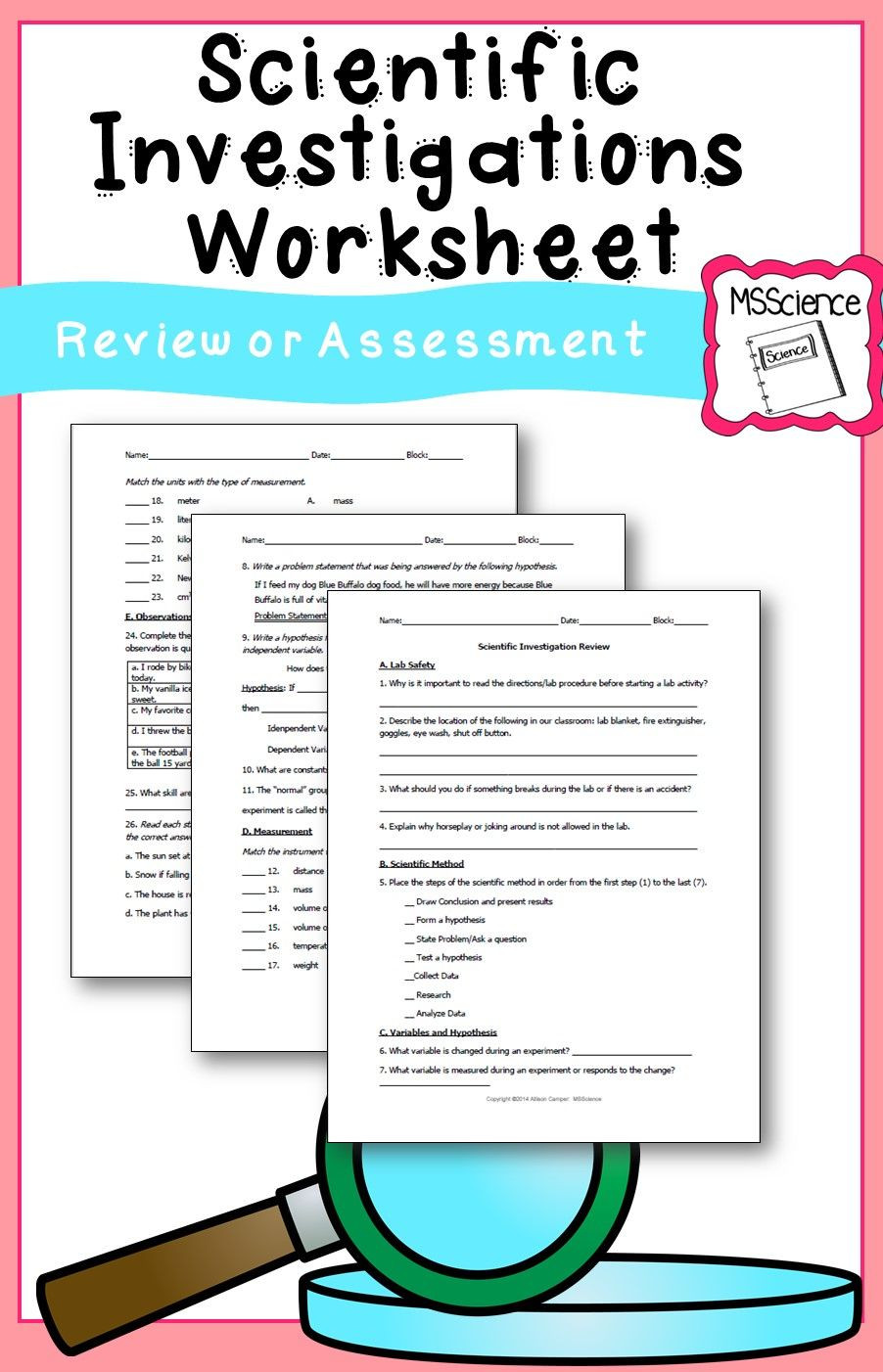 Scientific Method Worksheets 5th Grade Scientific Investigation Worksheet