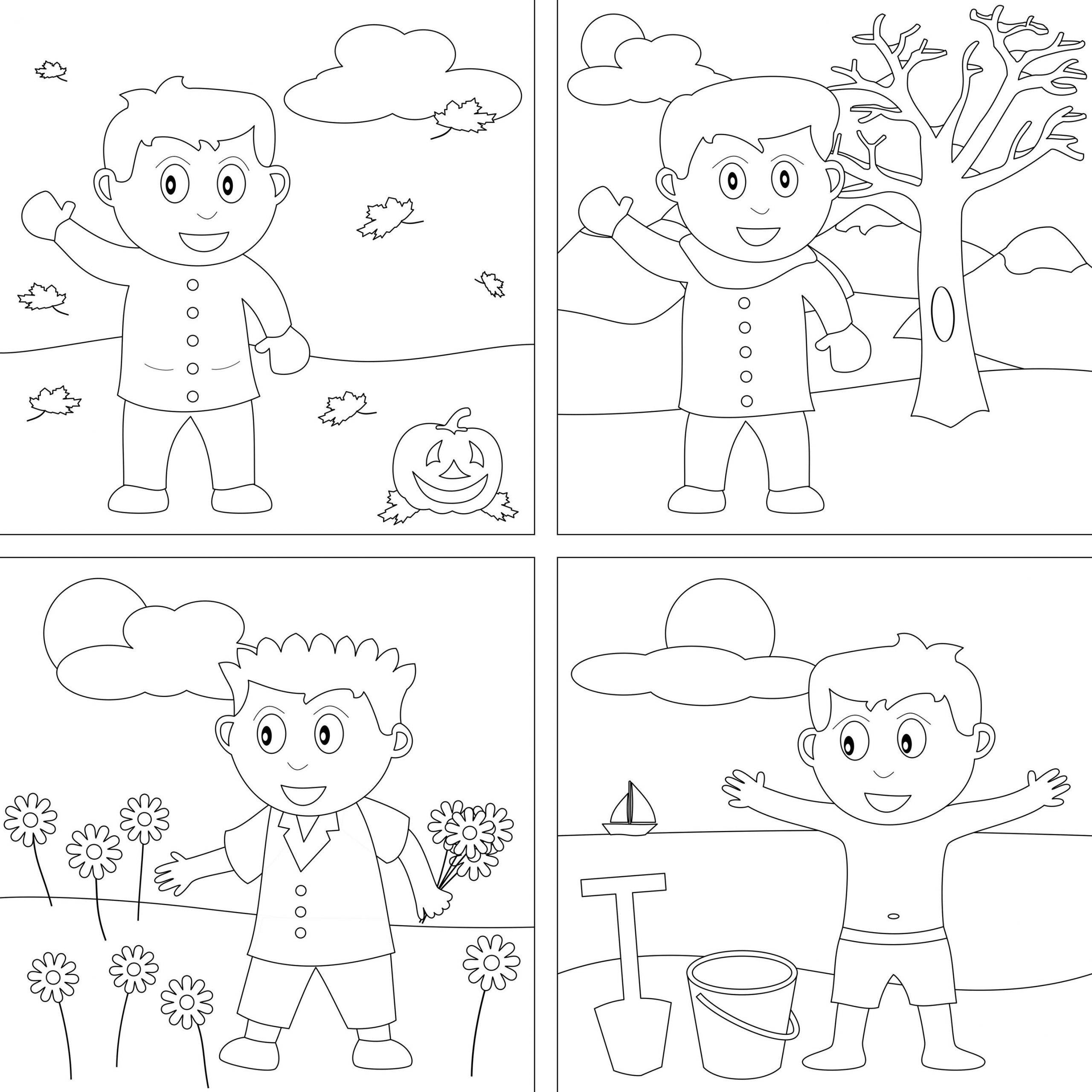 Seasons Worksheets for Preschoolers 4 Seasons Coloring Pages