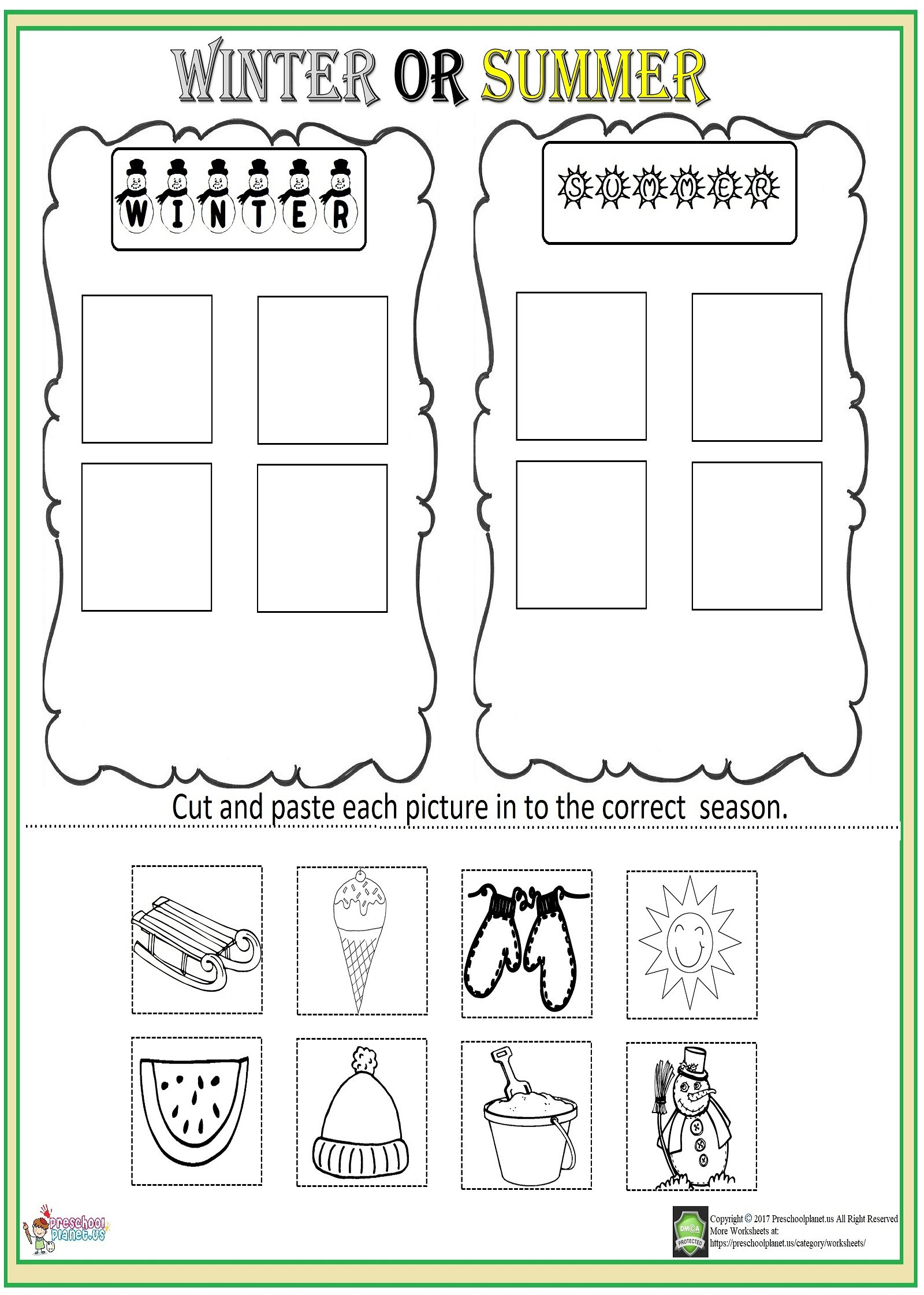 Seasons Worksheets for Preschoolers Cut and Paste Season Worksheet – Preschoolplanet