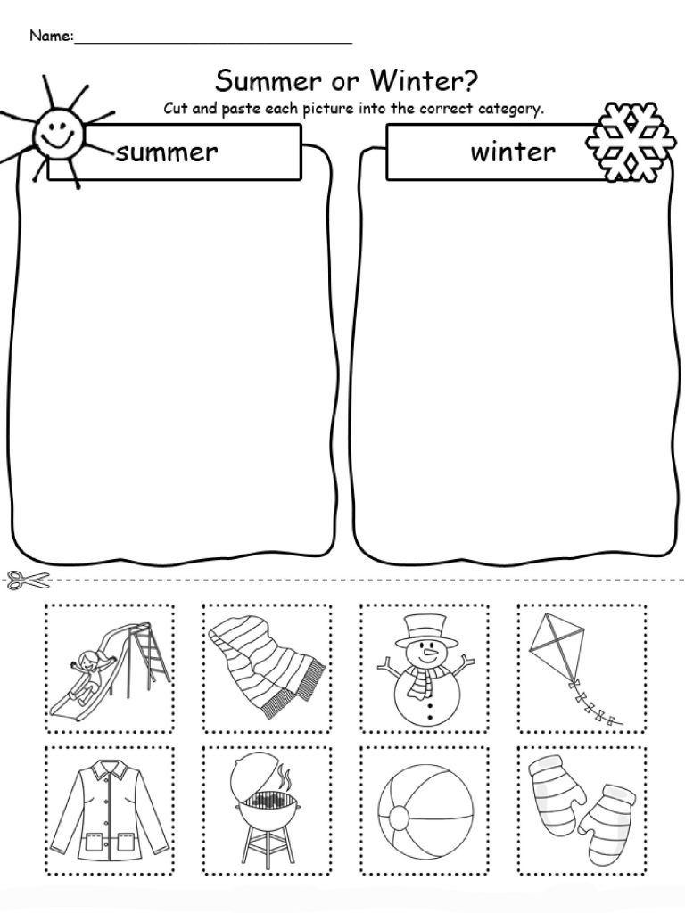 Seasons Worksheets for Preschoolers Summer Worksheets