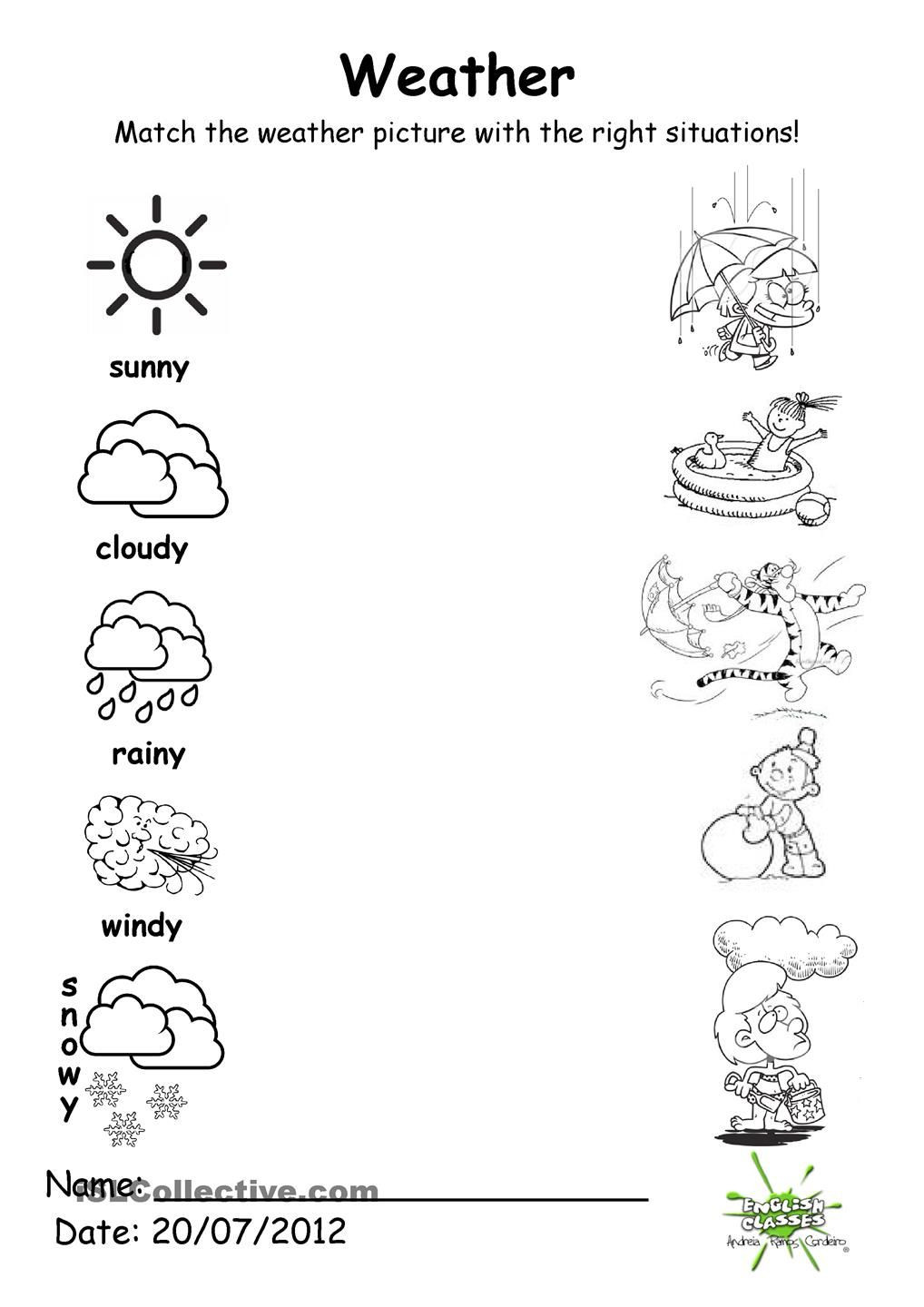 Seasons Worksheets for Preschoolers Weather Match