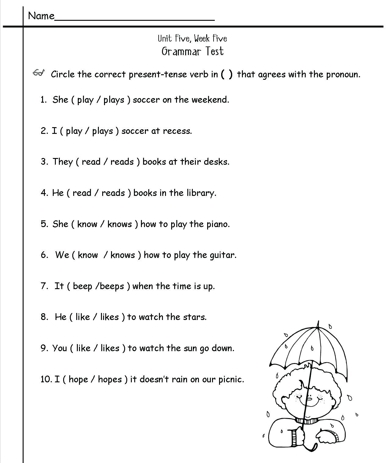 Second Grade Grammar Worksheets 2nd Grade English Worksheets Best Coloring Pages for Kids