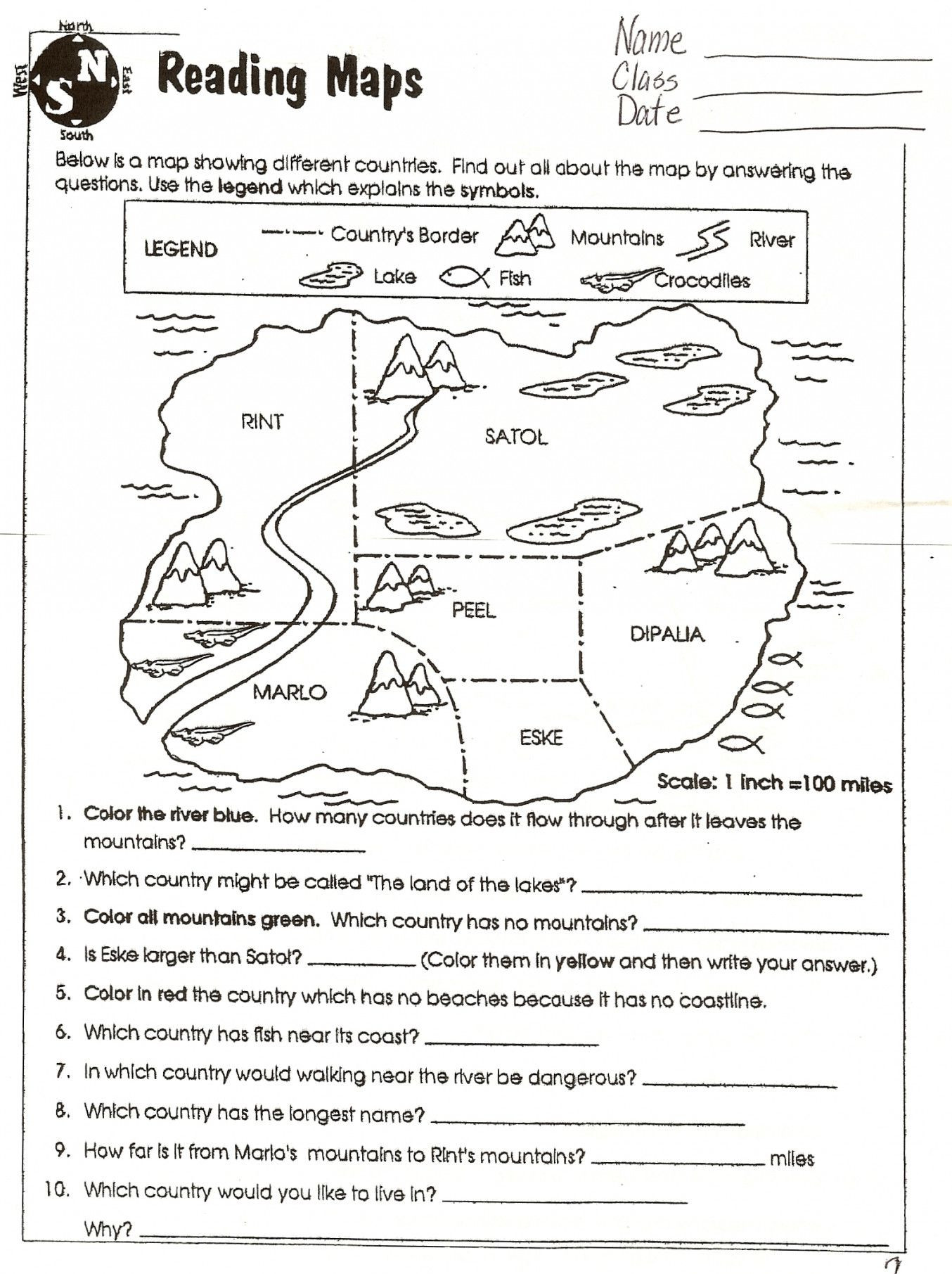 Second Grade Map Skills Worksheets Map Skills Worksheets to Printable Map Skills Worksheets