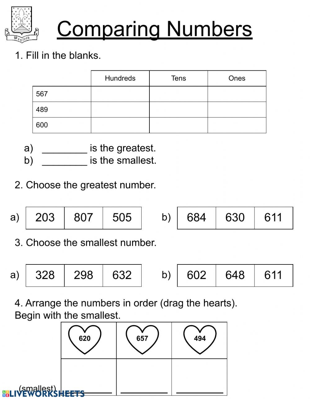 Second Grade Number Line Worksheets Paring Numbers Second Grade Interactive Worksheet