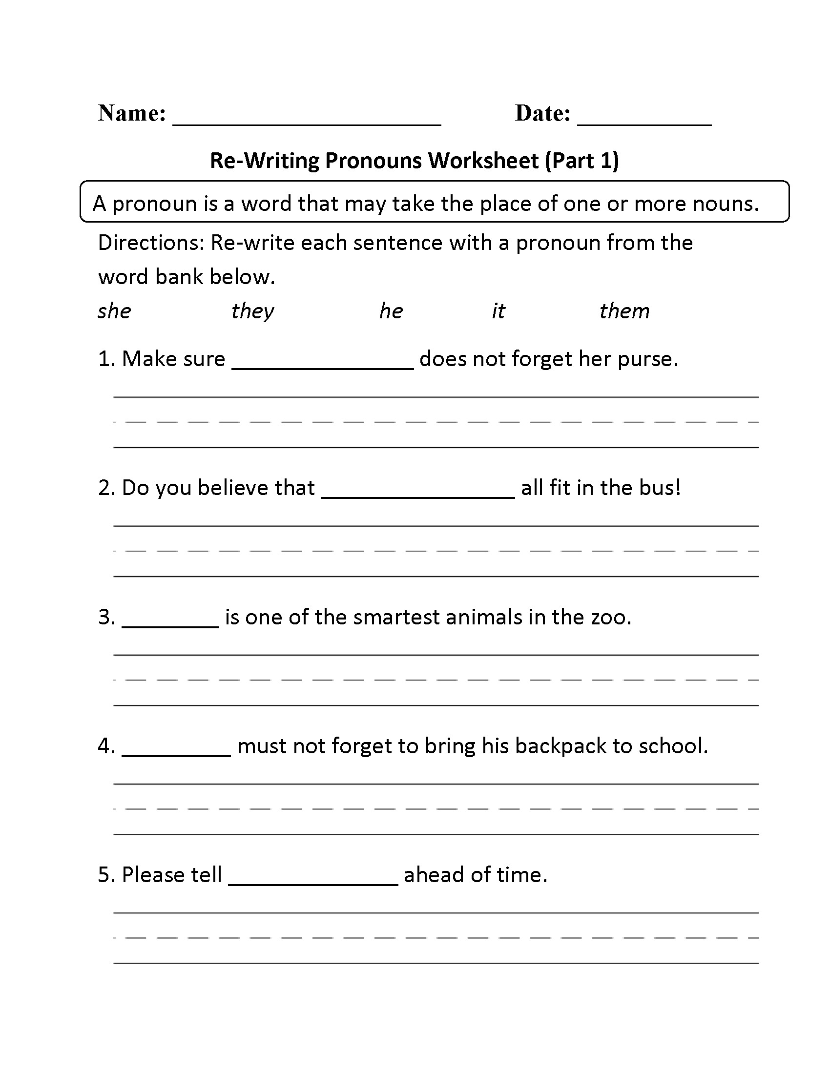 Second Grade Pronouns Worksheet Free Pronoun Worksheet for 2nd Grade