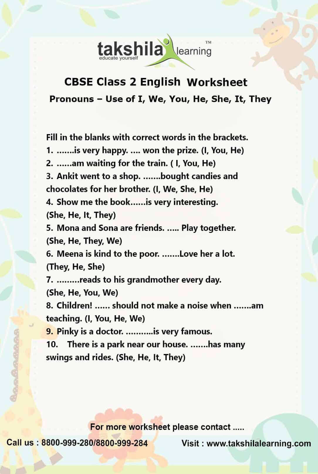 Second Grade Pronouns Worksheet Ncert & Cbse Class 2 English Use Of Pronouns Practice Worksheet