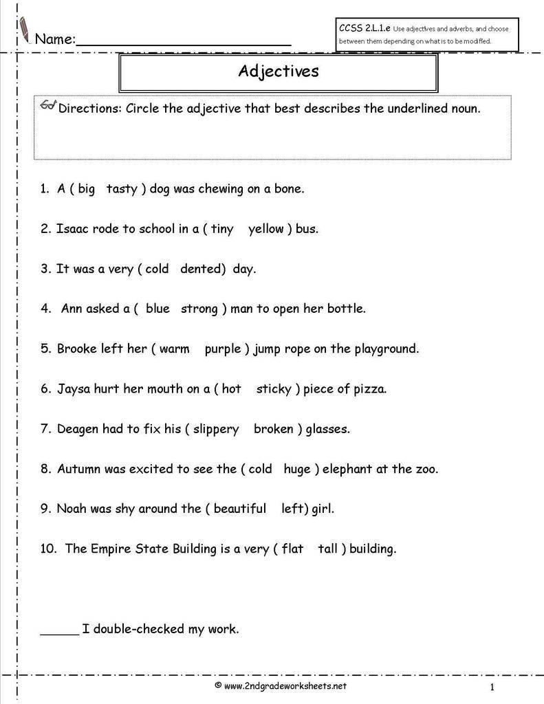 Second Grade Pronouns Worksheet Pronoun Agreement Quiz Beautiful Second Grade Adjective Word
