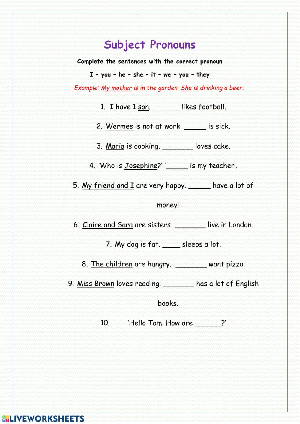 Second Grade Pronouns Worksheet Subject Pronouns Online Worksheet and Pdf