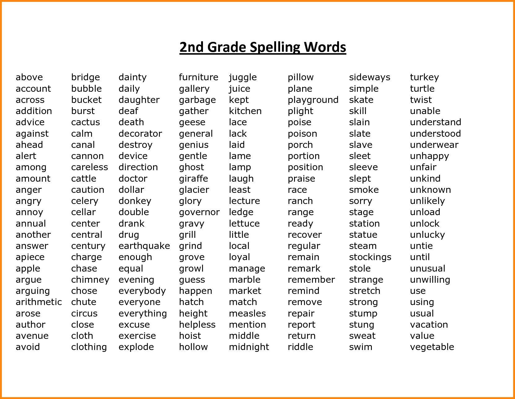 Second Grade Spelling Worksheets 2nd Grade Spelling Words Best Coloring Pages for Kids In