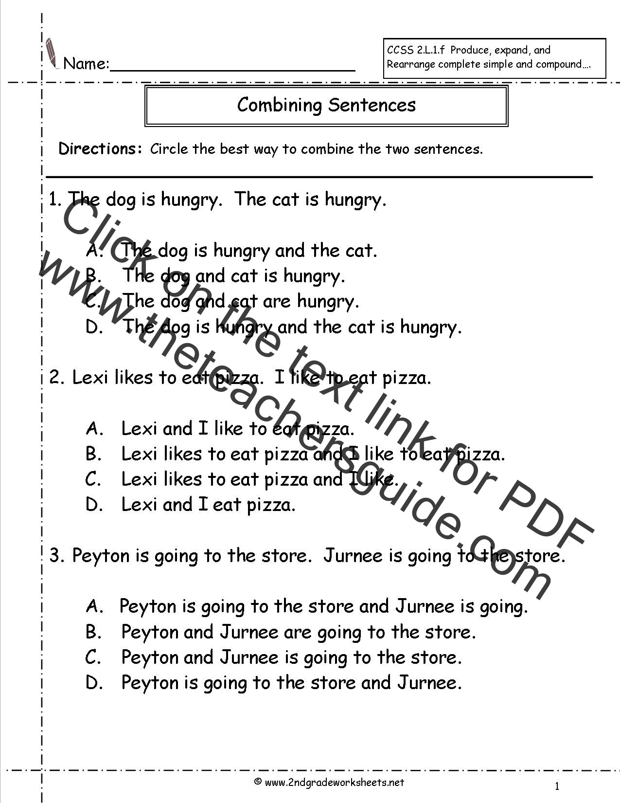Sentence Worksheets First Grade Joining Words Worksheet for Grade 2