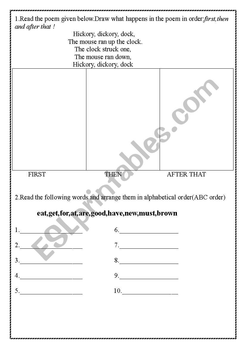 Sentence Worksheets for First Grade English Grade 1 Sequence First then Last Alphabetical order