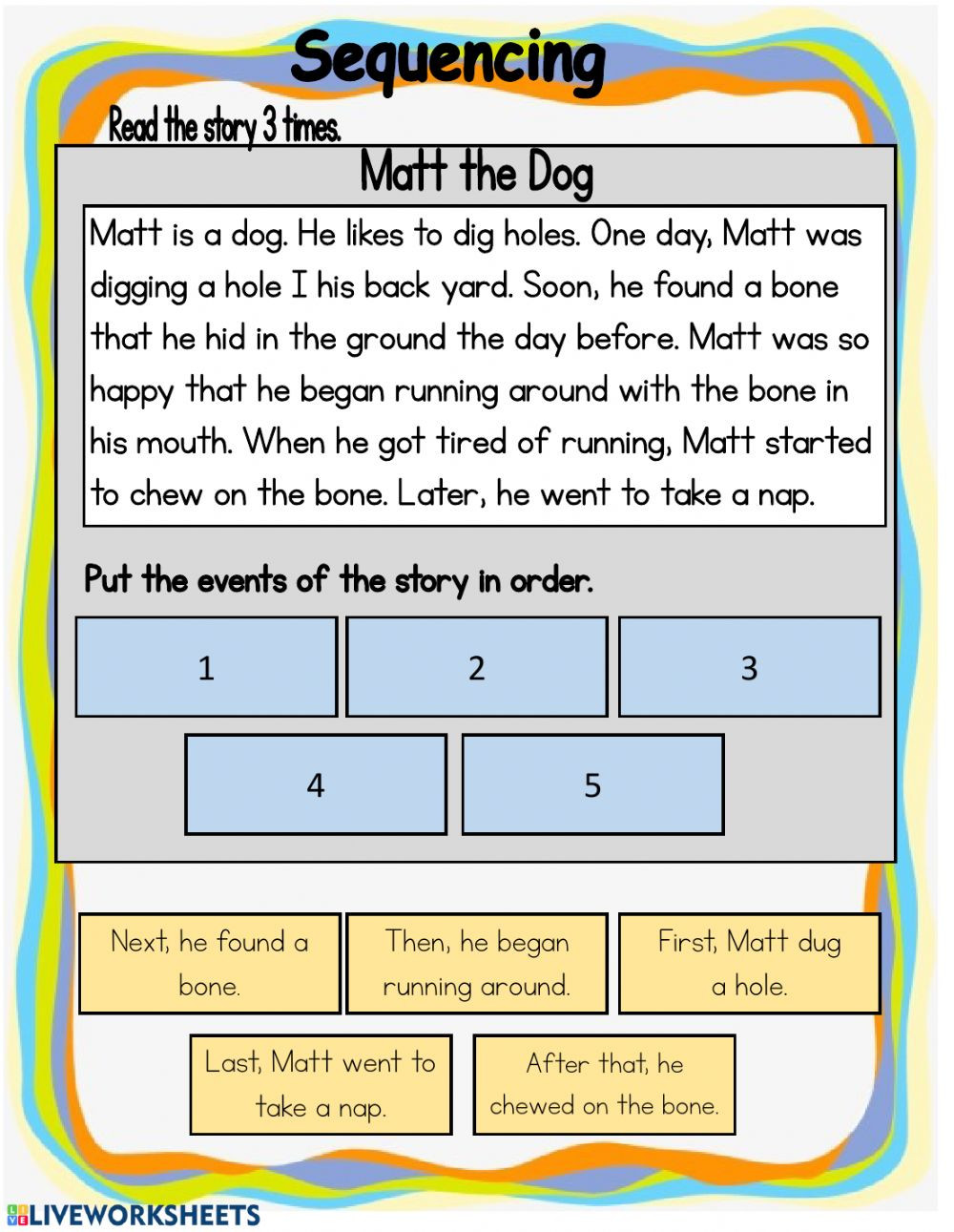 Sequencing events Worksheets Grade 6 Sequencing Interactive Worksheet
