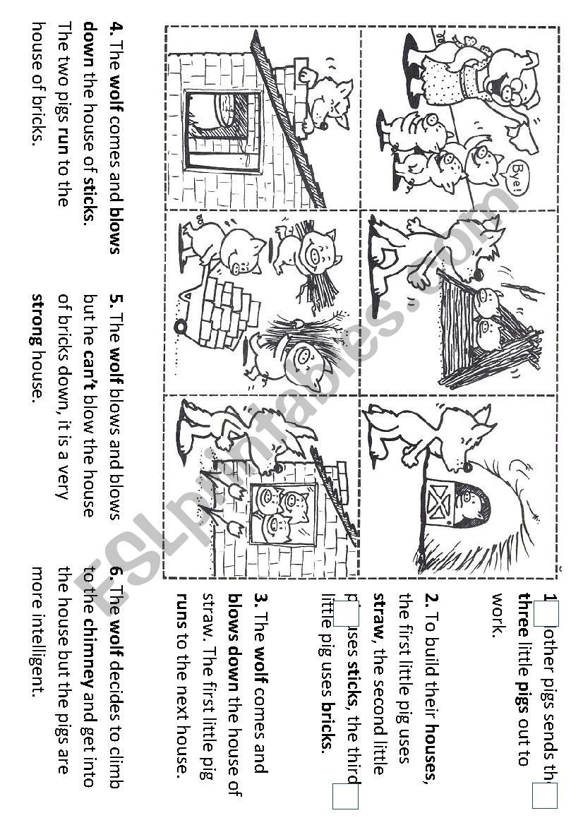 Sequencing events Worksheets Grade 6 Sequencing the Story Of the Three Little Pigs Esl