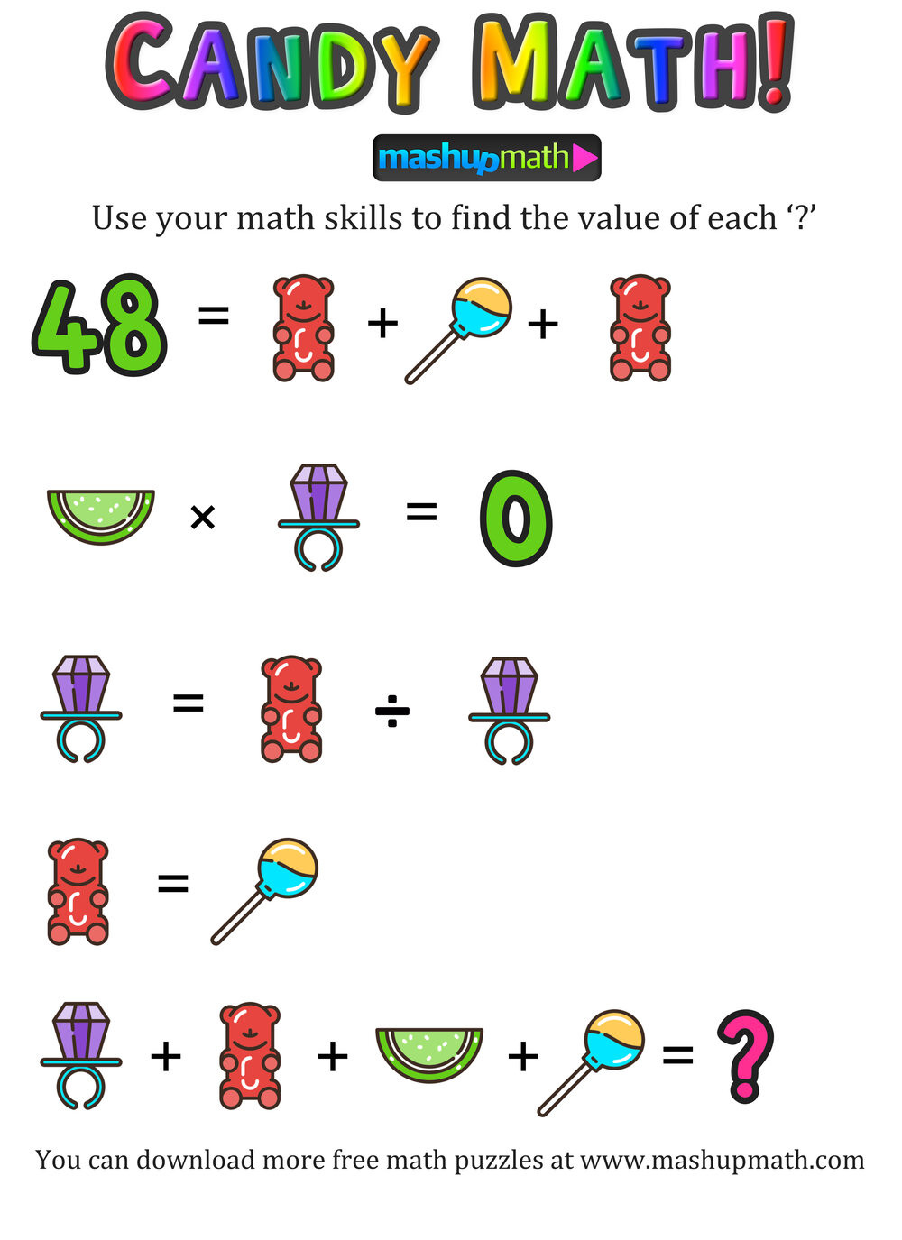 Shopping Math Worksheet are Your Kids Ready for these Candy Shop Math Puzzles
