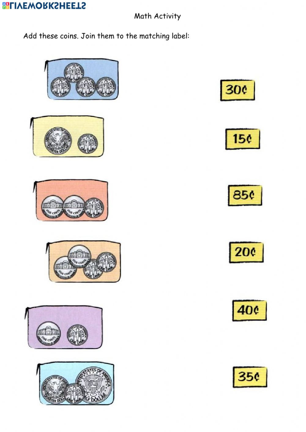 Shopping Math Worksheet Math Shopping Using Coins 2 April 14 Interactive Worksheet