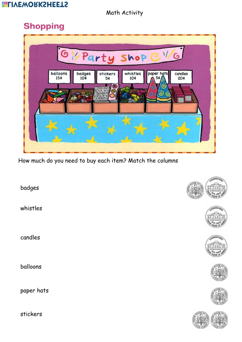 Shopping Math Worksheet Math Shopping Using Coins April 14 Interactive Worksheet
