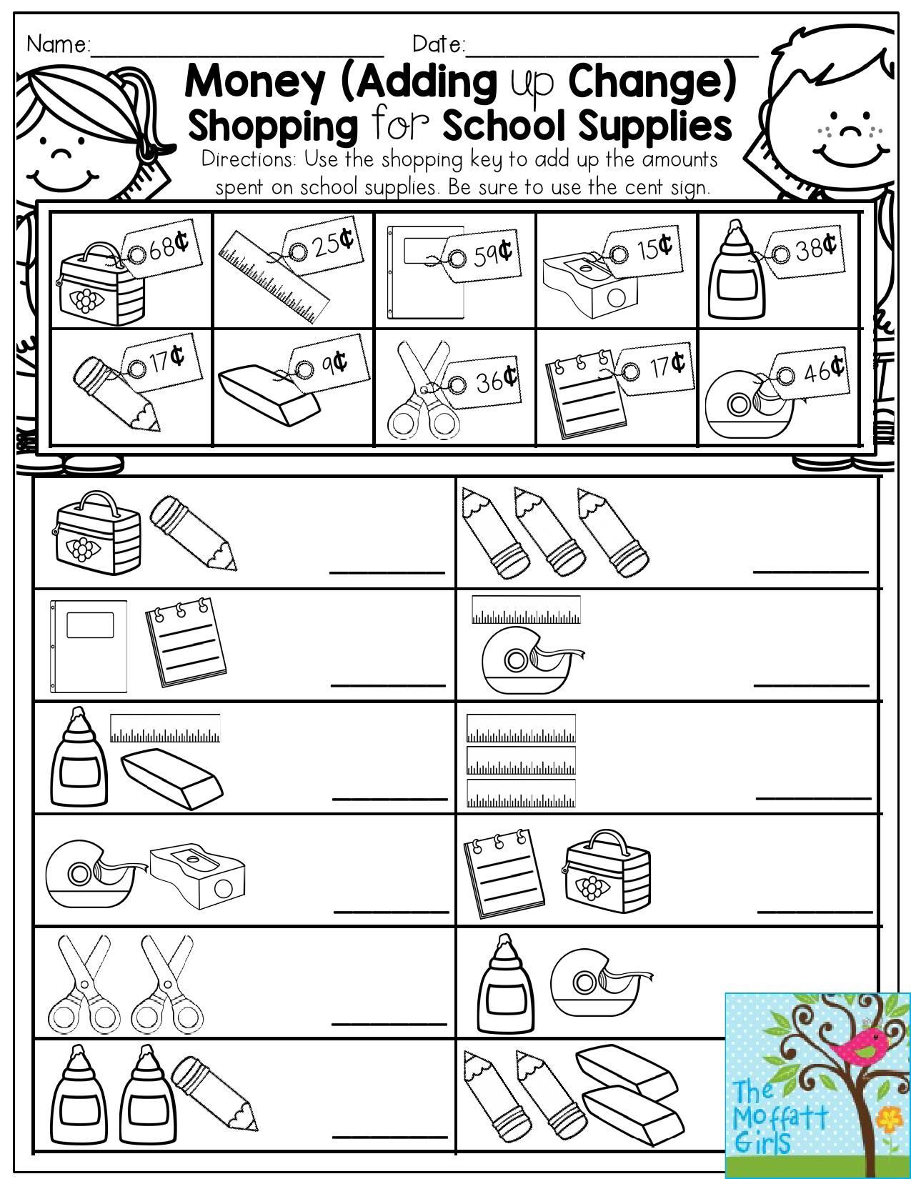 Shopping Math Worksheet Money Adding Up Change Shopping for School Supplies Fun