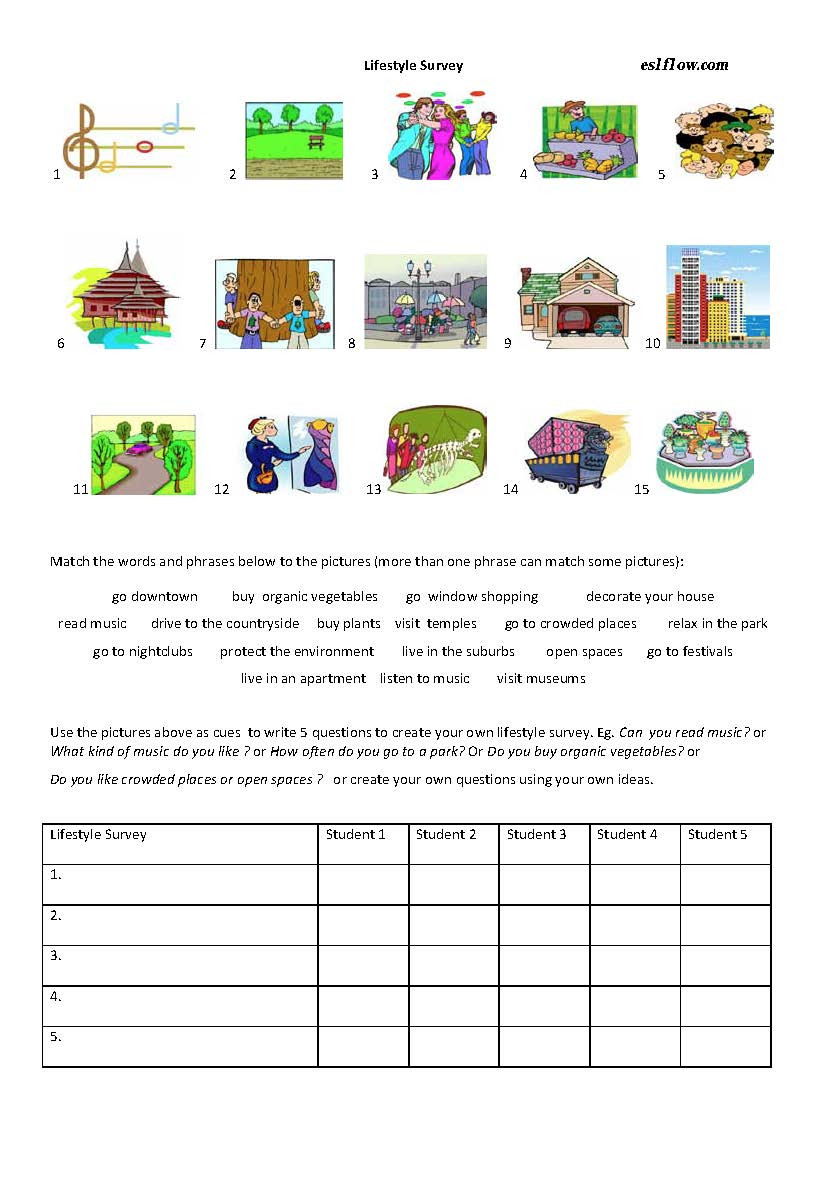 Shopping Math Worksheets Lifestyle Survey Lesson Worksheet Eslflow Worksheets