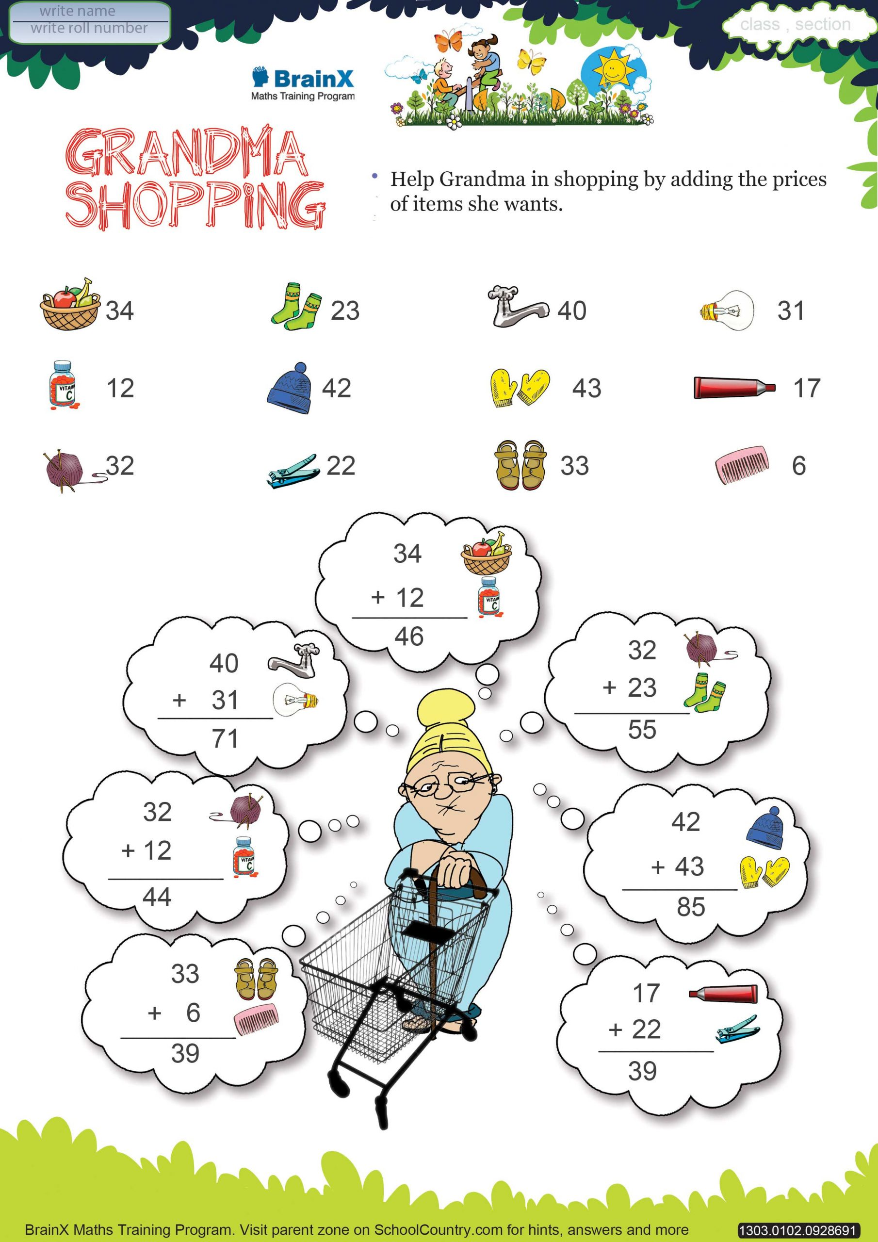 Shopping Math Worksheets Printable Addition Math Olympiad Worksheets for Kids Of